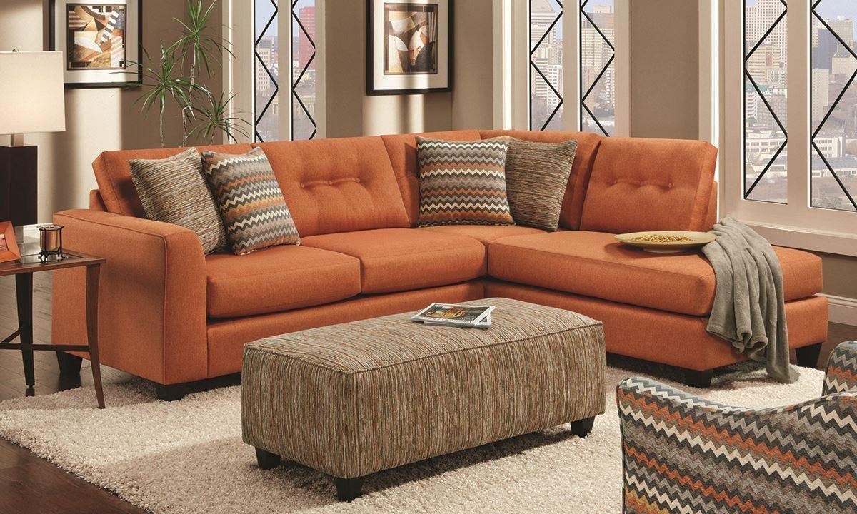 Fandango Flame Sectional Sofa | Haynes Furniture, Virginia's Throughout Orange Sectional Sofas (Image 10 of 20)