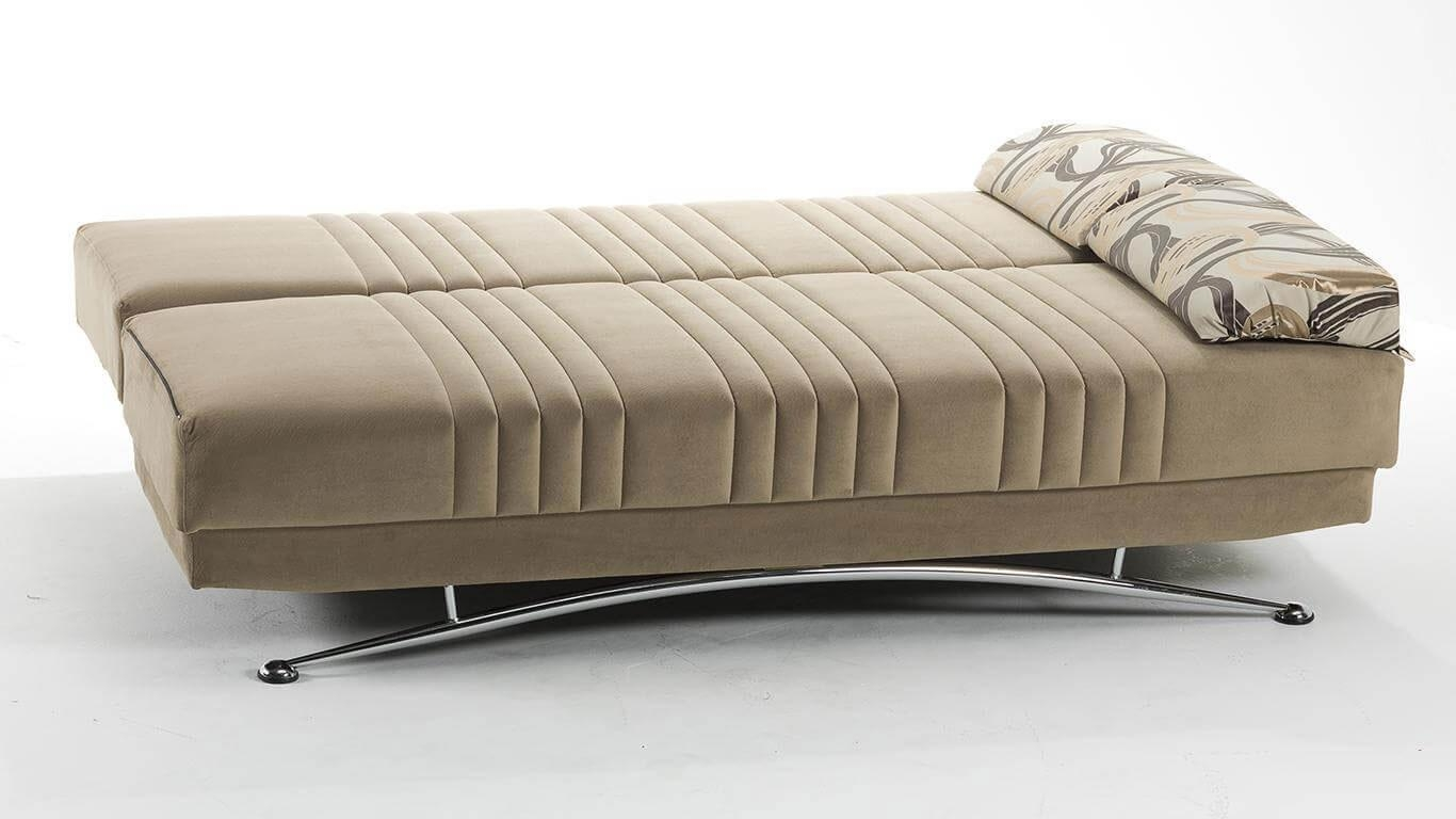 Fantasia Beige Microfiber Queen Size Sofa Bed | Sofa Beds Within Microsuede Sofa Beds (Image 4 of 20)