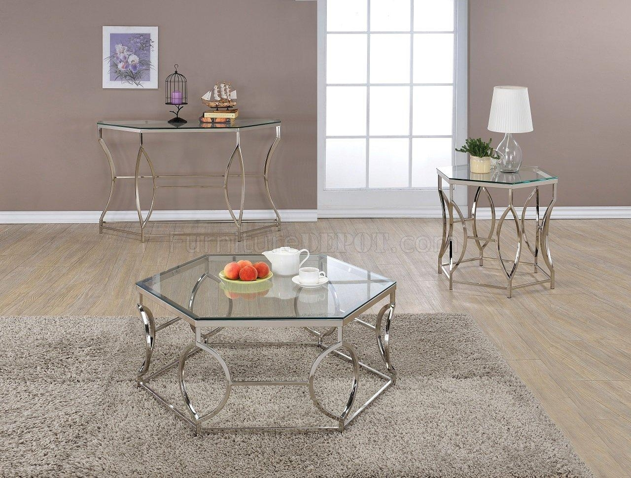 Farica 82200 3Pc Coffee Table Set In Chromeacme For Chrome Sofa Tables (Image 8 of 20)