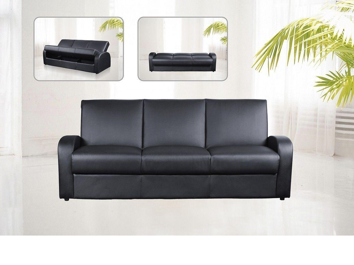 Faux Leather 3 Seater Sofa Bed Black, Brown, Cream – Homegenies Throughout Leather Sofa Beds With Storage (Image 8 of 20)
