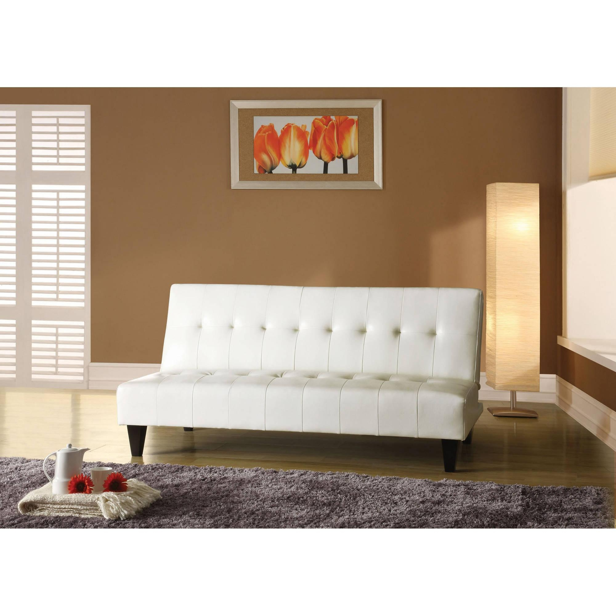Faux Leather Bycast Adjustable Futon Sofa, Multiple Colors With Regard To Faux Leather Futon Sofas (Image 4 of 20)