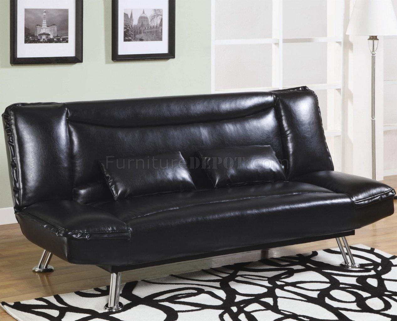 Faux Leather Modern Convertible Sofa Bed 300144 Black For Black Leather Convertible Sofas (Image 9 of 20)