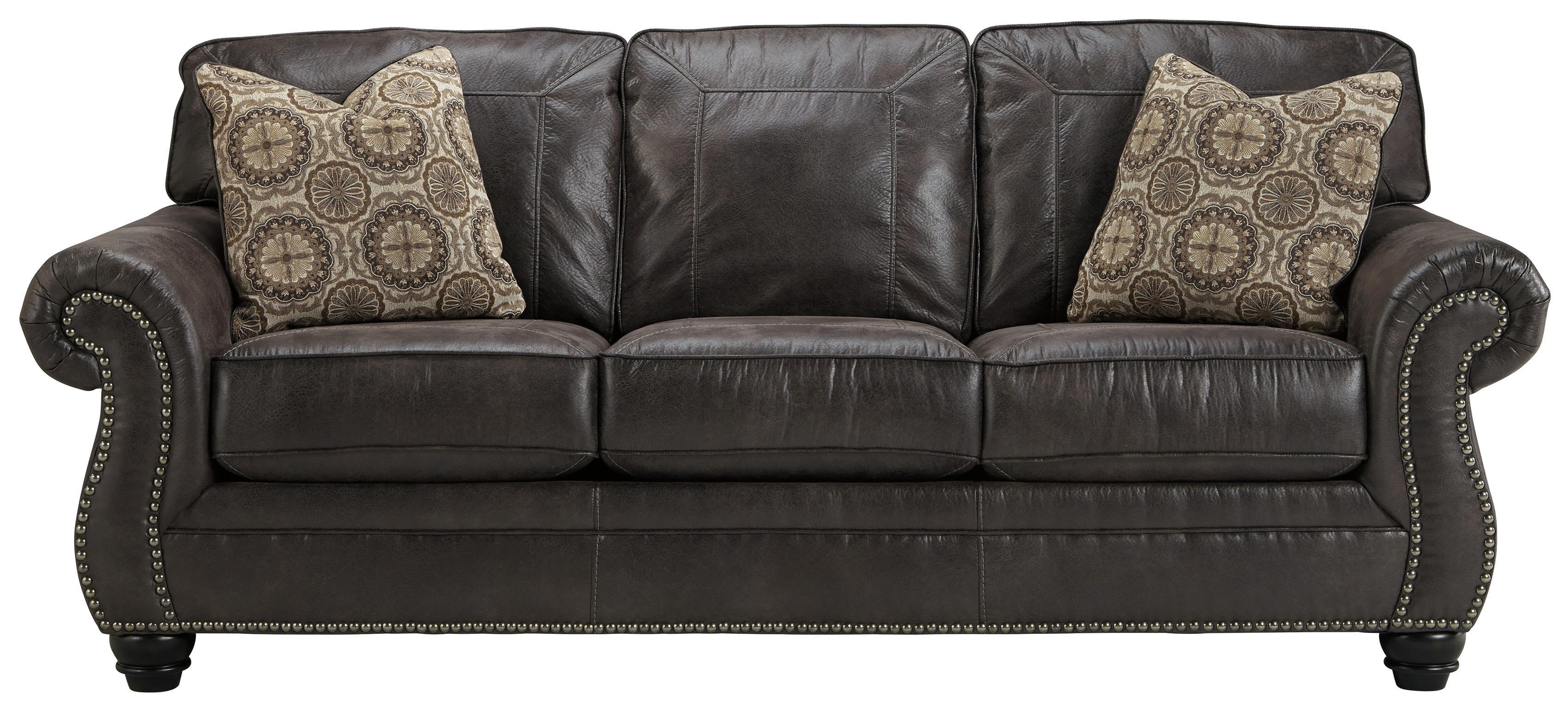 Faux Leather Queen Sofa Sleeper With Rolled Arms And Nailhead Trim With Regard To Faux Leather Sleeper Sofas (View 7 of 20)