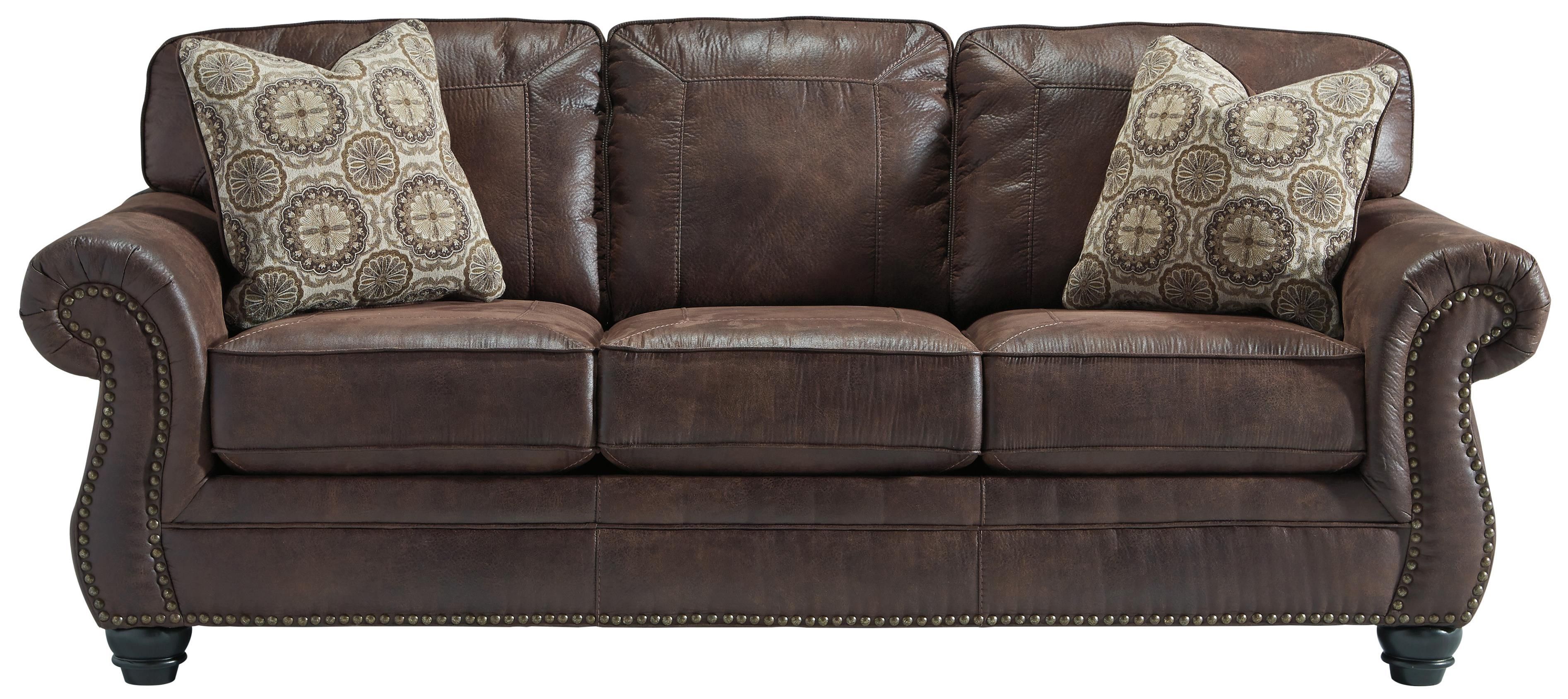 Faux Leather Sofa With Rolled Arms And Nailhead Trimbenchcraft Pertaining To Brown Leather Sofas With Nailhead Trim (Image 8 of 20)