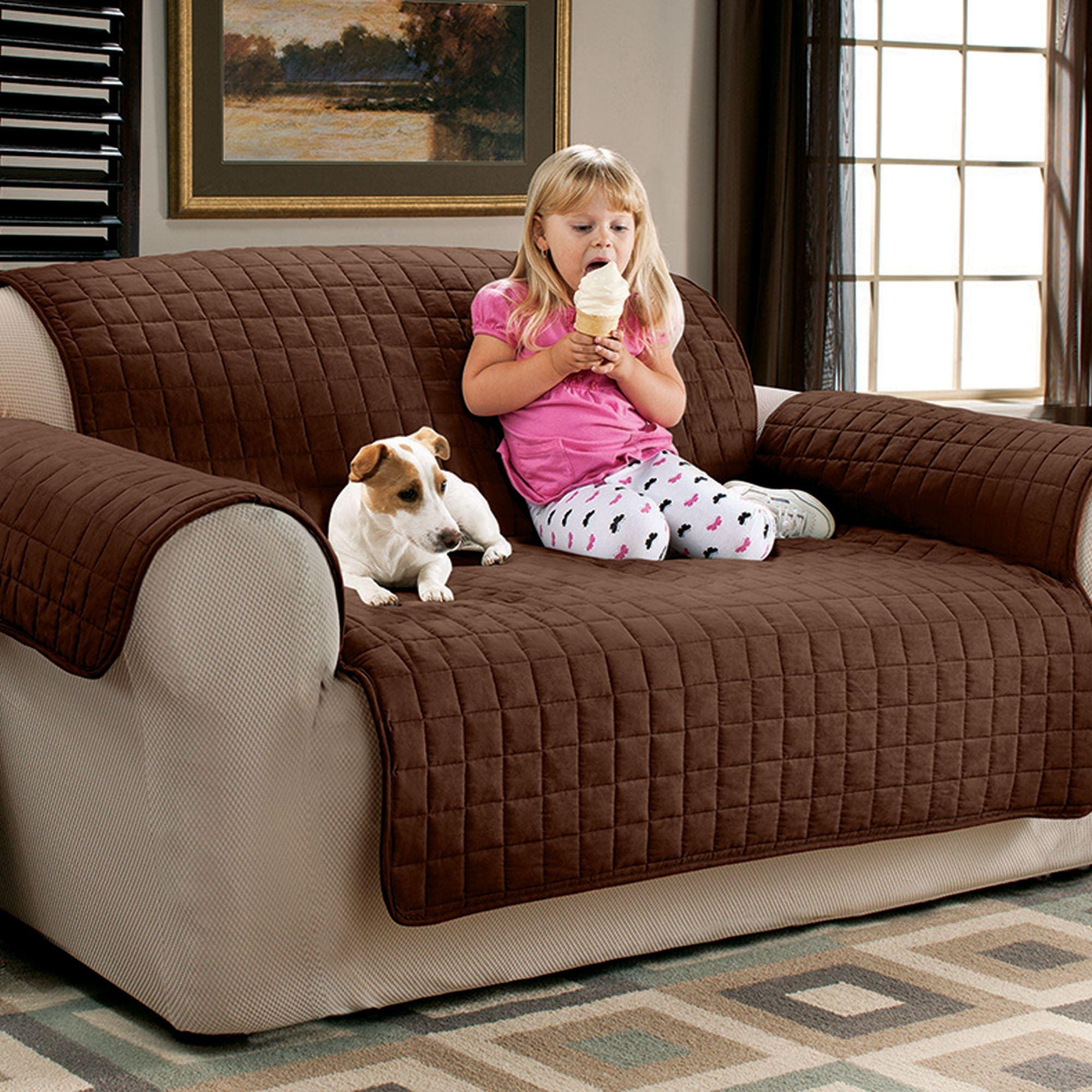Faux Suede Pet Furniture Covers For Sofas, Loveseats, And Chairs In Sofa And Loveseat Covers (View 7 of 20)