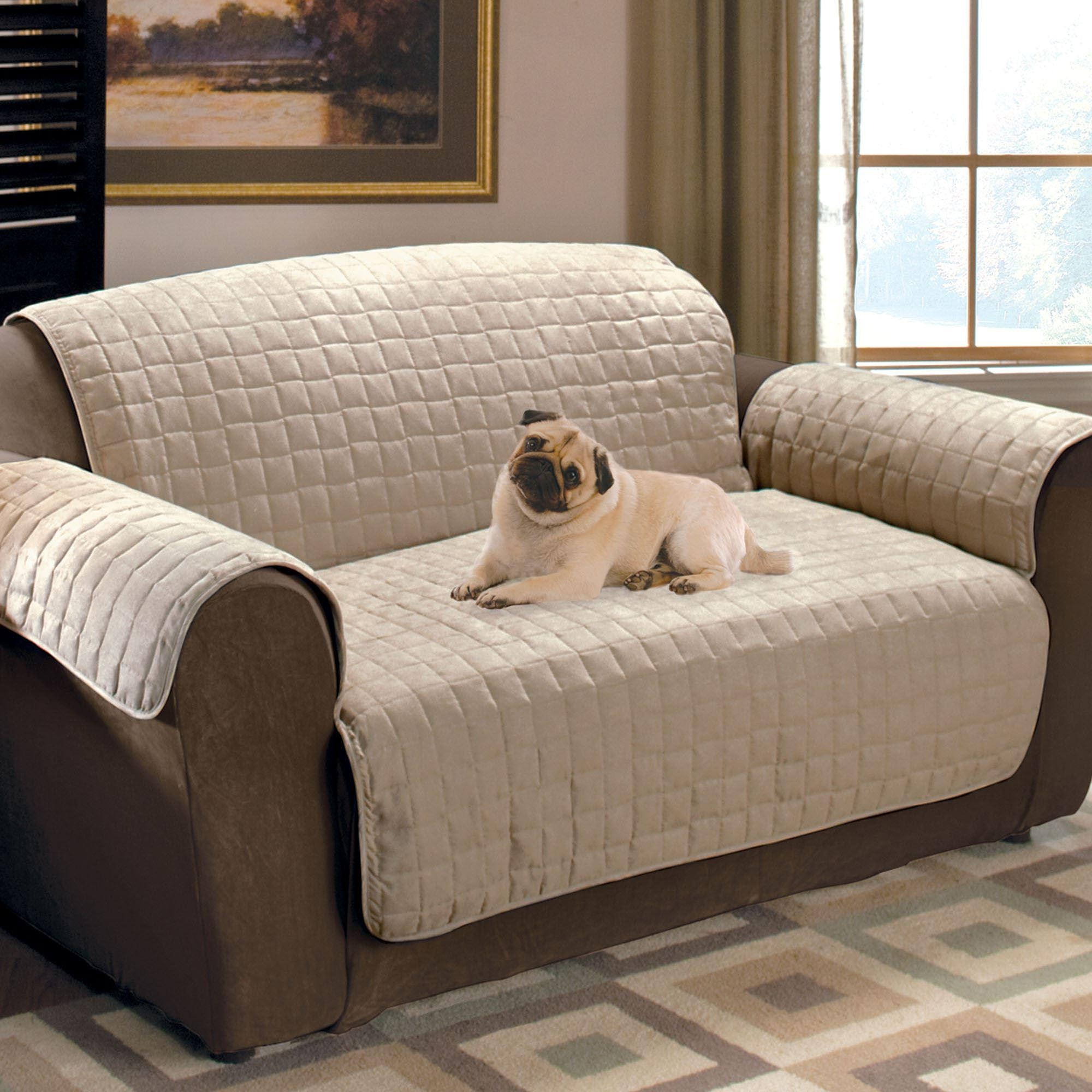 Faux Suede Pet Furniture Covers For Sofas, Loveseats, And Chairs With Overstuffed Sofas And Chairs (Image 3 of 20)