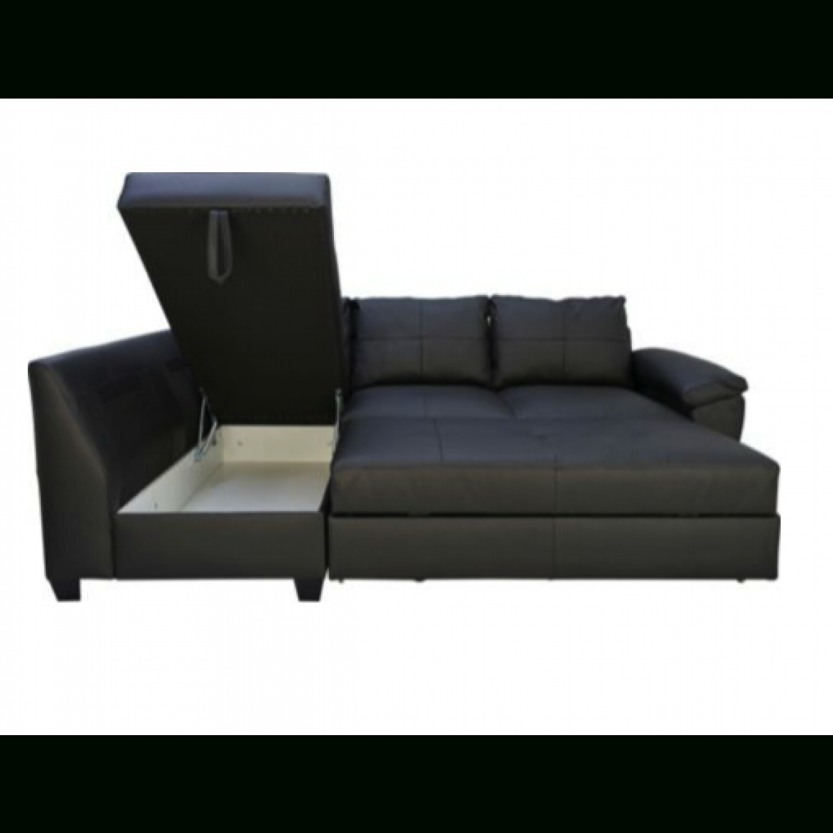 Fernando Leather Left Hand Sofa Bed Corner Group – Black Inside Leather Corner Sofa Bed (View 16 of 20)