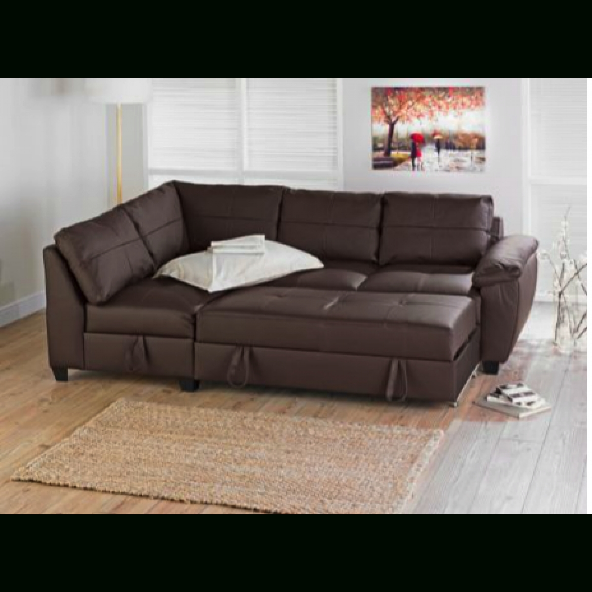 Fernando Leather Left Hand Sofa Bed Corner Group – Chocolate Intended For Corner Sofa Beds (Image 6 of 20)