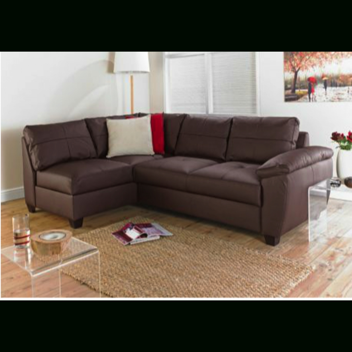Fernando Leather Left Hand Sofa Bed Corner Group – Chocolate Intended For Leather Corner Sofa Bed (Image 8 of 20)