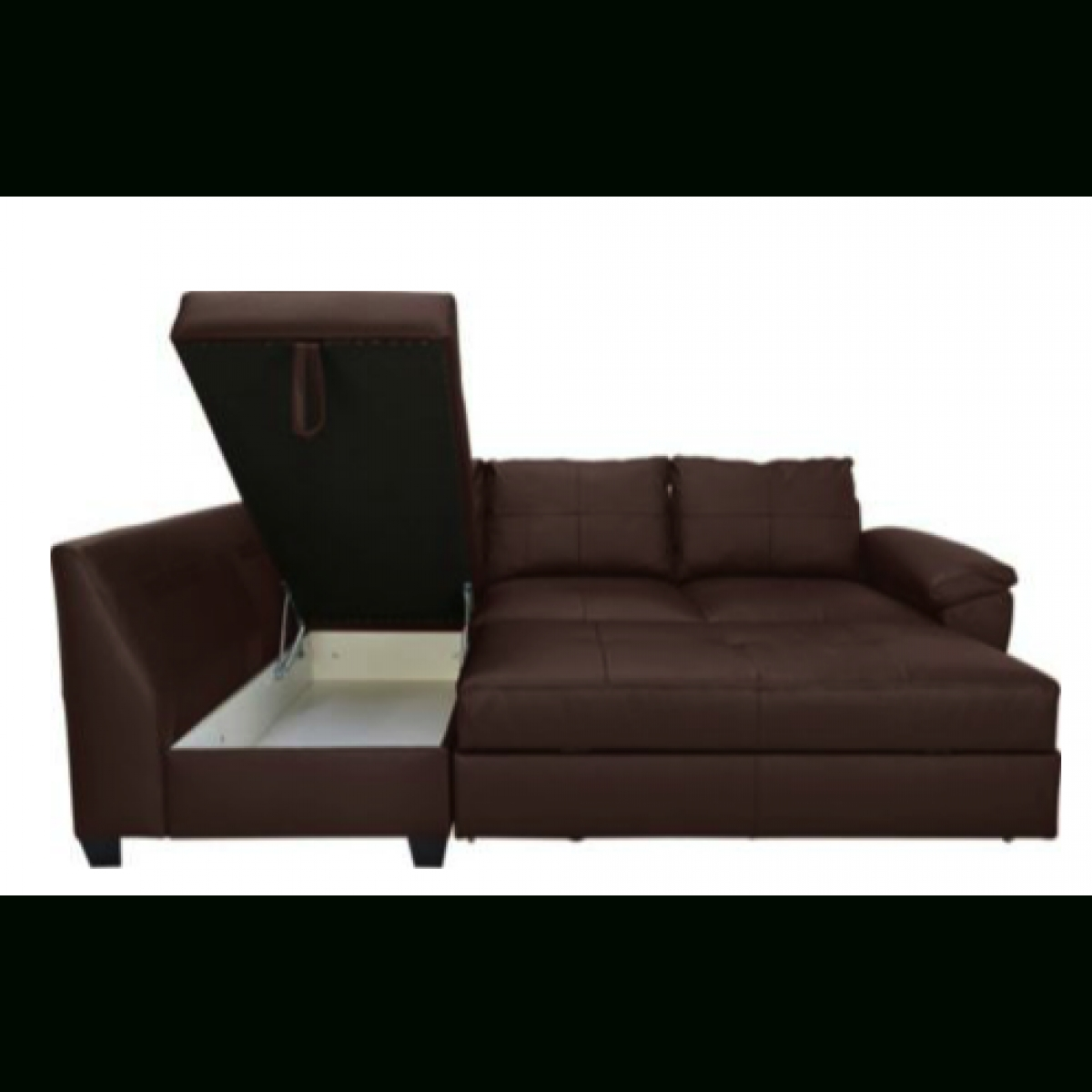 Fernando Leather Left Hand Sofa Bed Corner Group – Chocolate With Regard To Leather Sofa Beds With Storage (Image 9 of 20)
