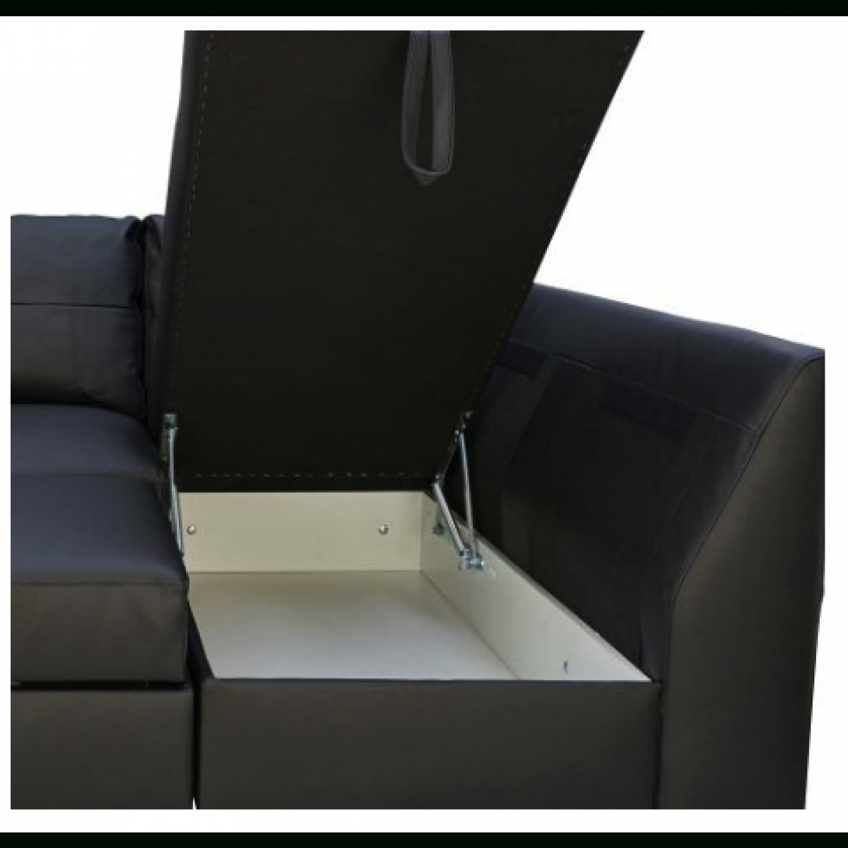 Fernando Leather Right Hand Sofa Bed Corner Group – Black Regarding Leather Corner Sofa Bed (Image 10 of 20)