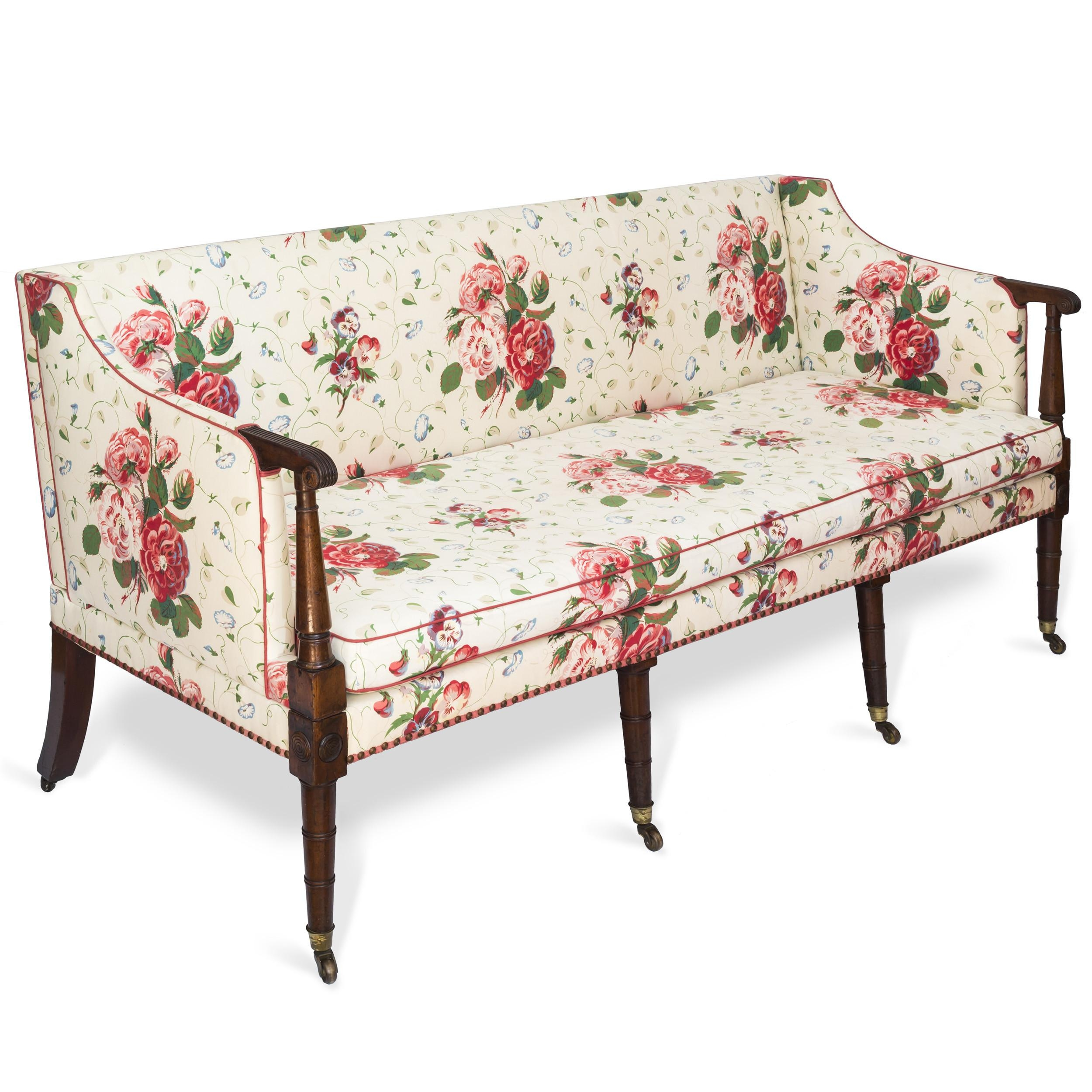 Fine George Iii Three Seater Mahogany Sofa Settee In Colefax Regarding Chintz Sofas And Chairs (Image 15 of 20)
