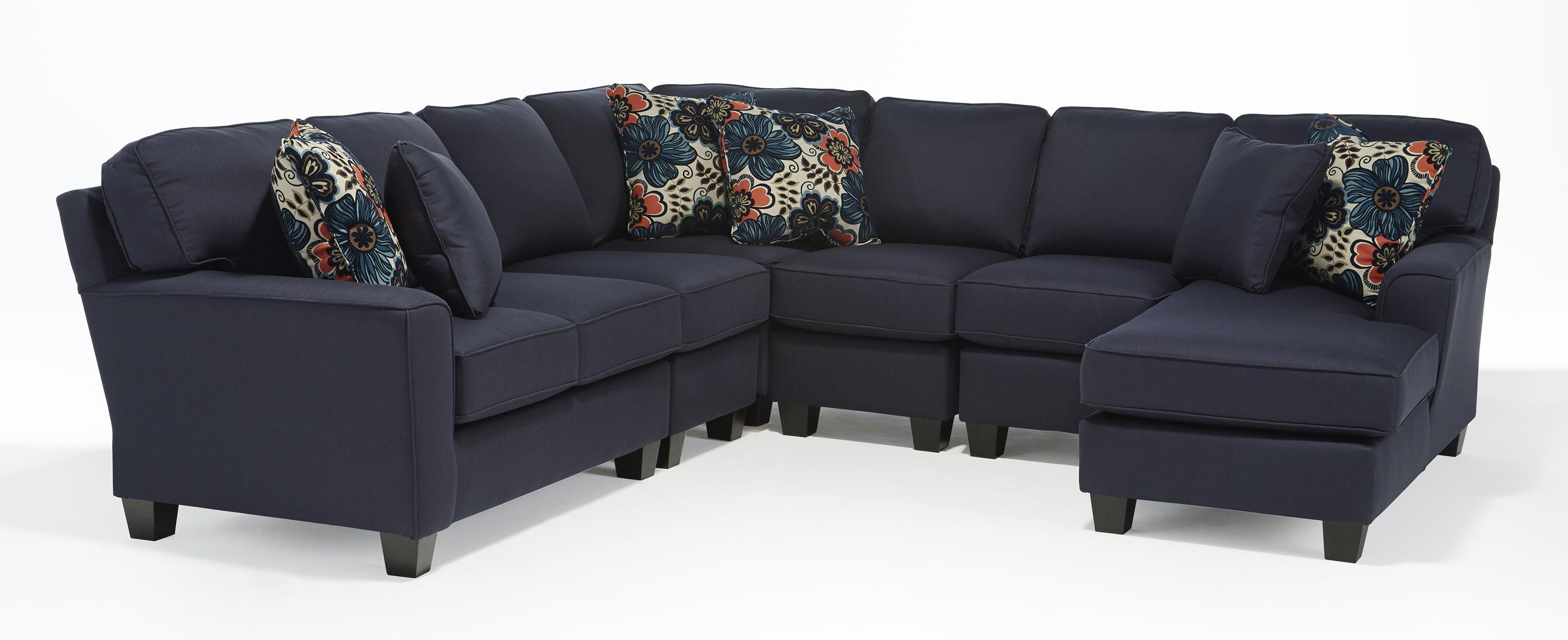 Five Piece Customizable Sectional Sofa With Beveled Arms And Wood Throughout Customized Sofas (Image 14 of 20)