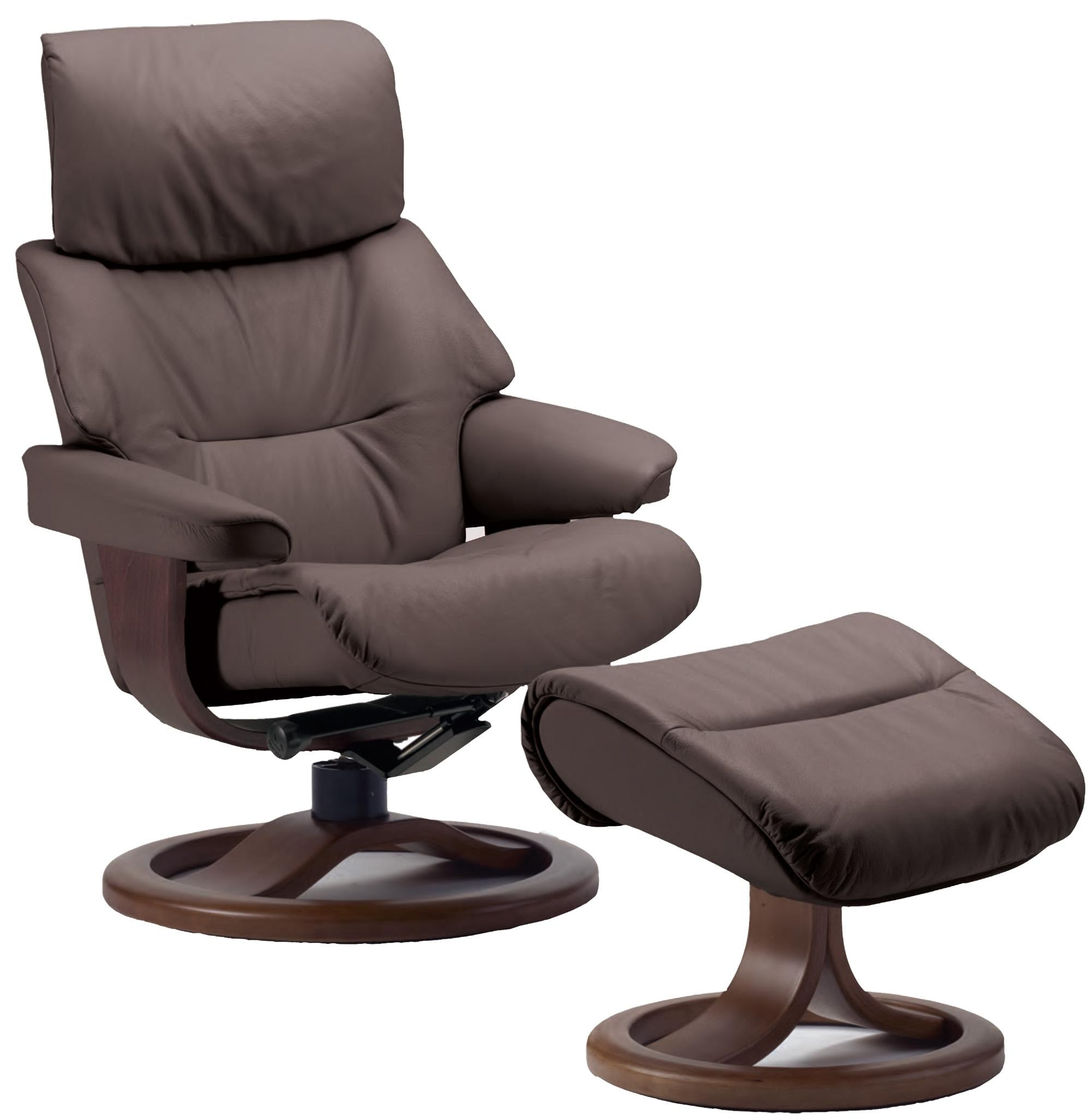 Fjords Grip Ergonomic Leather Recliner Chair + Ottoman Regarding Ergonomic Sofas And Chairs (Image 15 of 20)