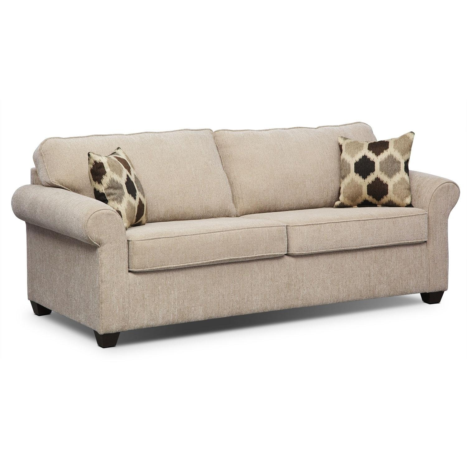 Fletcher Full Innerspring Sleeper Sofa – Beige | Value City Furniture Within Value City Sofas (View 6 of 20)