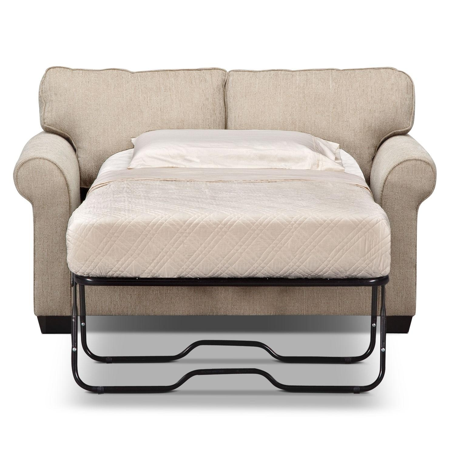 Fletcher Twin Memory Foam Sleeper Sofa – Beige | Value City Furniture With Twin Sleeper Sofa Chairs (Image 7 of 20)