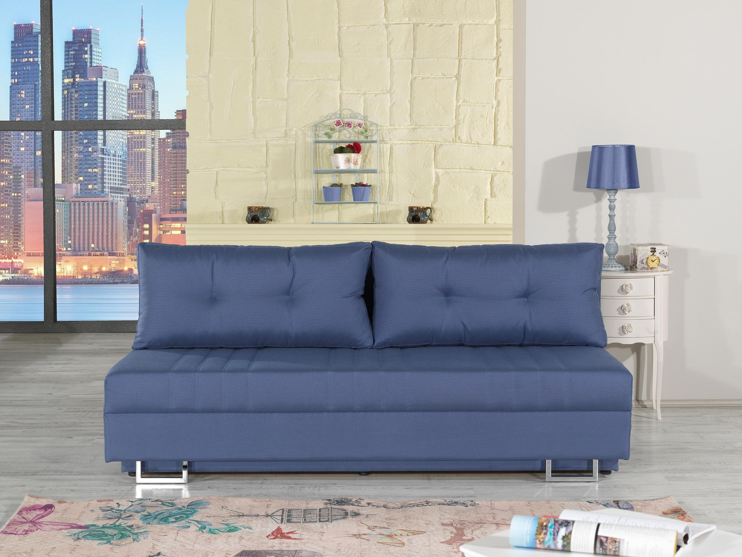 Flex Motion Blue Queen Sofa Bed W/ Storagecasamode Pertaining To Queen Sofa Beds (View 15 of 20)