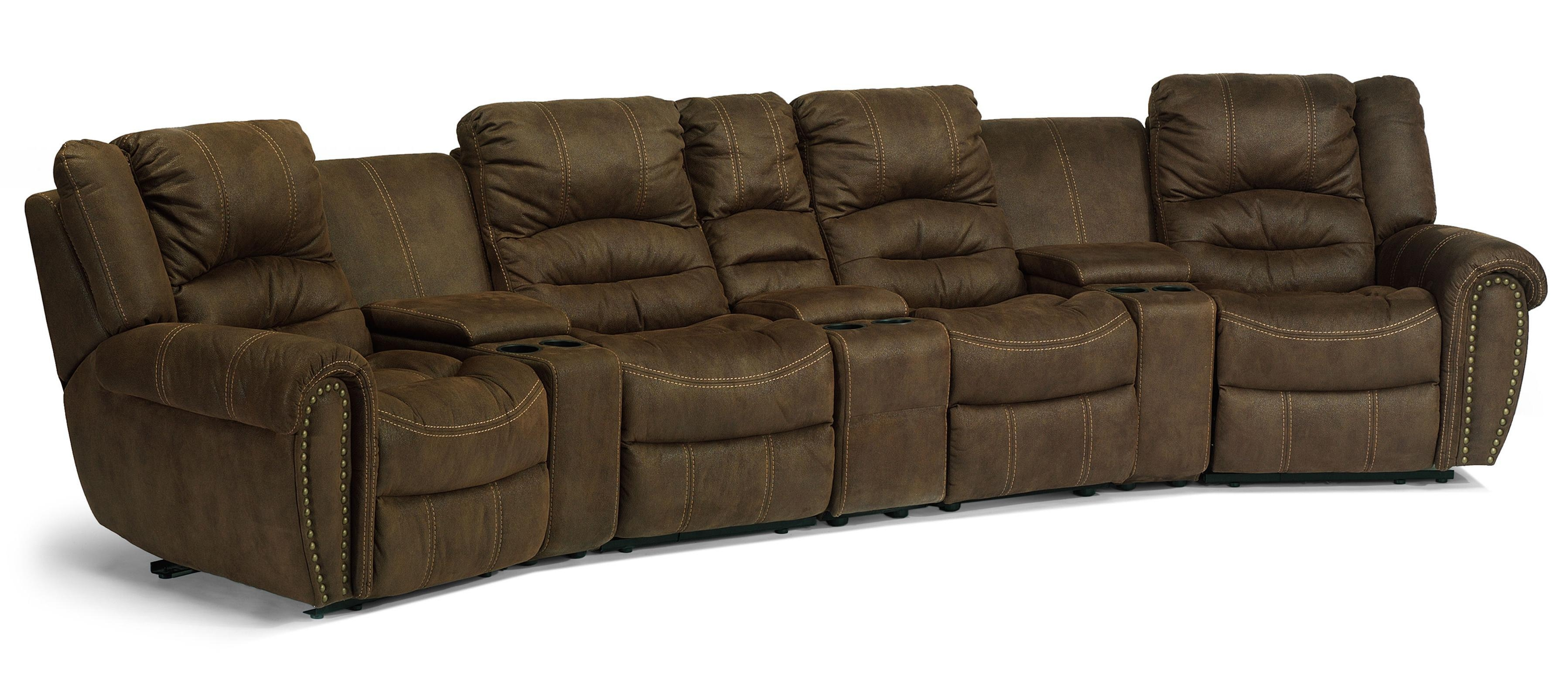 Flexsteel Latitudes – New Town Curved Reclining Sectional Sofa With Curved Sectional Sofa With Recliner (Image 3 of 15)