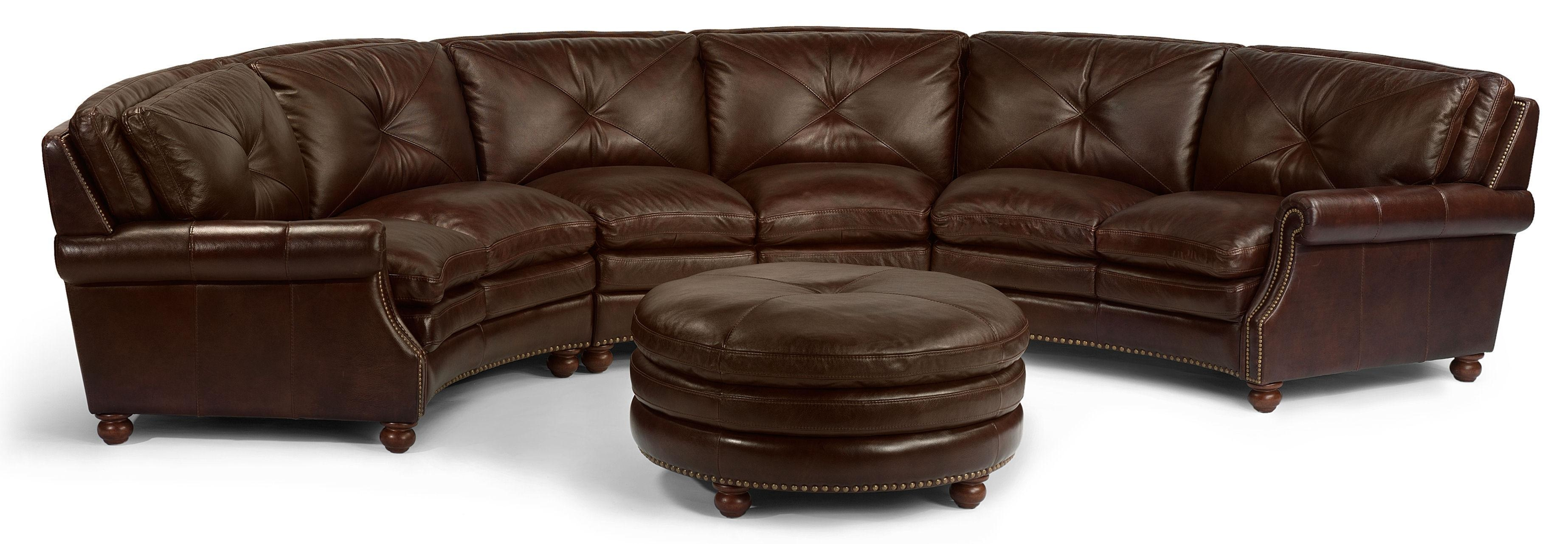 Flexsteel Latitudes Suffolk Round Sectional Sofa With Nailhead Pertaining To Circular Sectional Sofa (Image 7 of 15)