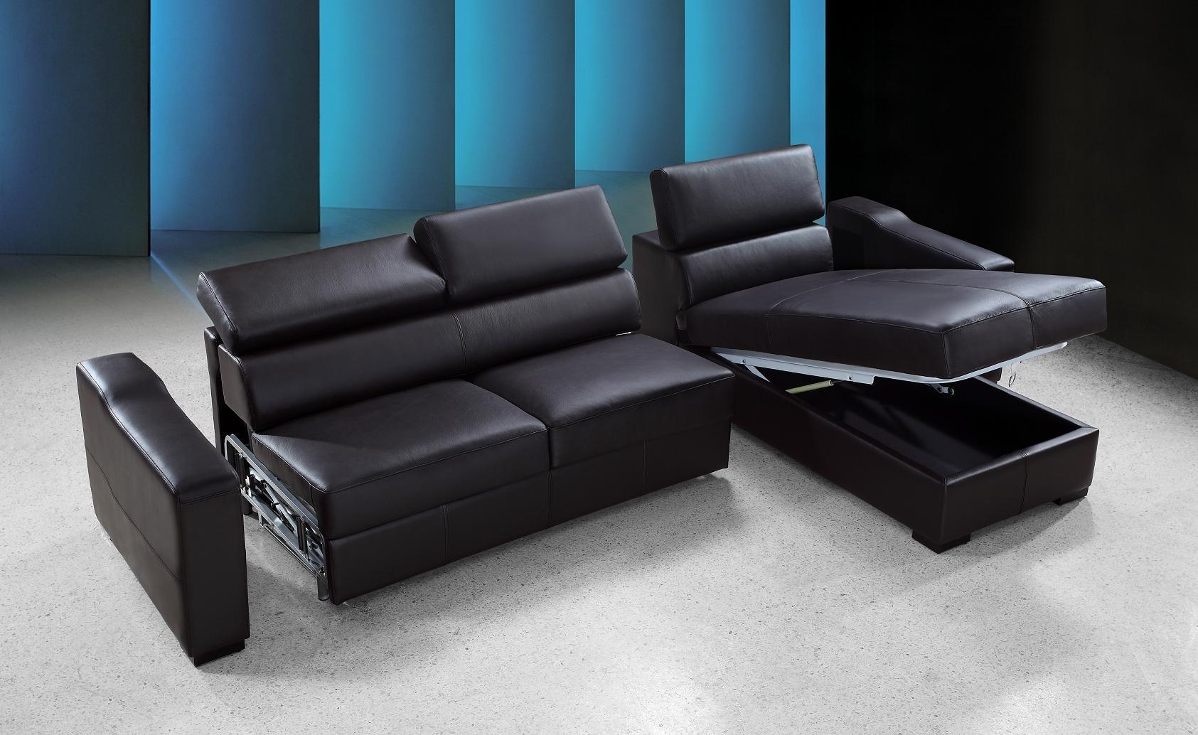 Flip Reversible Espresso Leather Sectional Sofa Bed W/ Storage Throughout Sofa Beds With Storage Chaise (View 20 of 20)