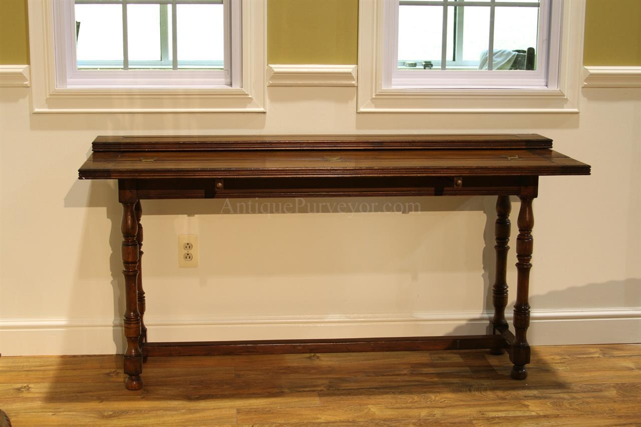 Flip Top Console Table, Solid Walnut Country Hallway Table For Country Sofa Tables (Image 11 of 20)