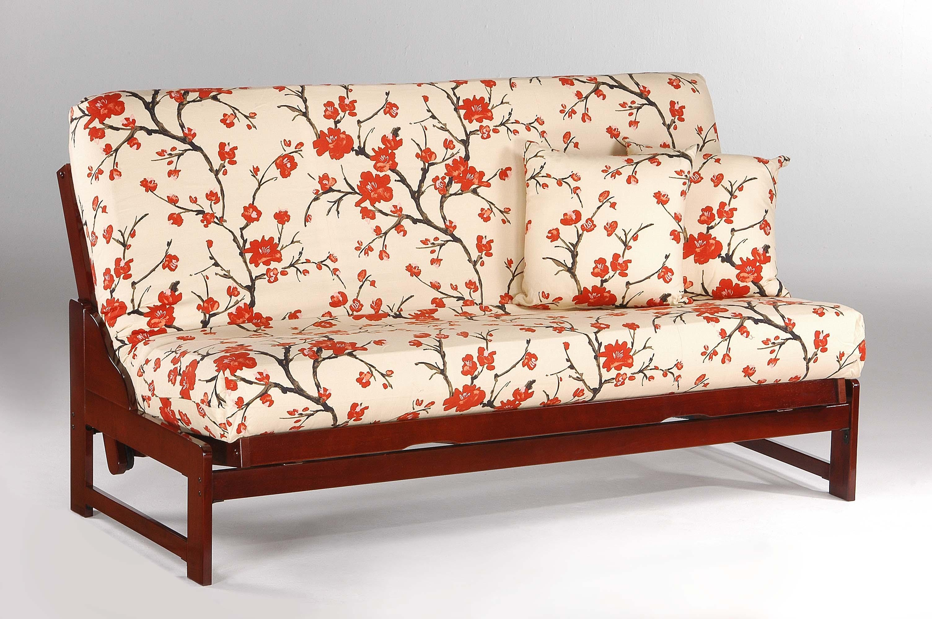 Floral Fabric Double Sofa Bed With Sturdy Metal Frame (View 10 of 20)