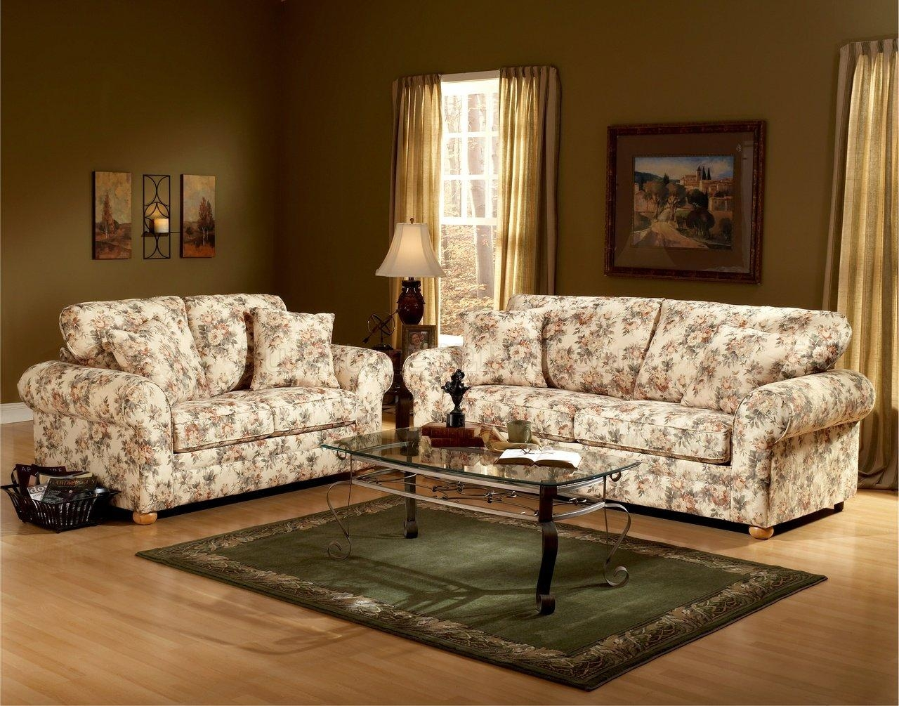 Floral Pattern Fabric Traditional Sofa & Loveseat Set For Floral Sofas (View 2 of 20)