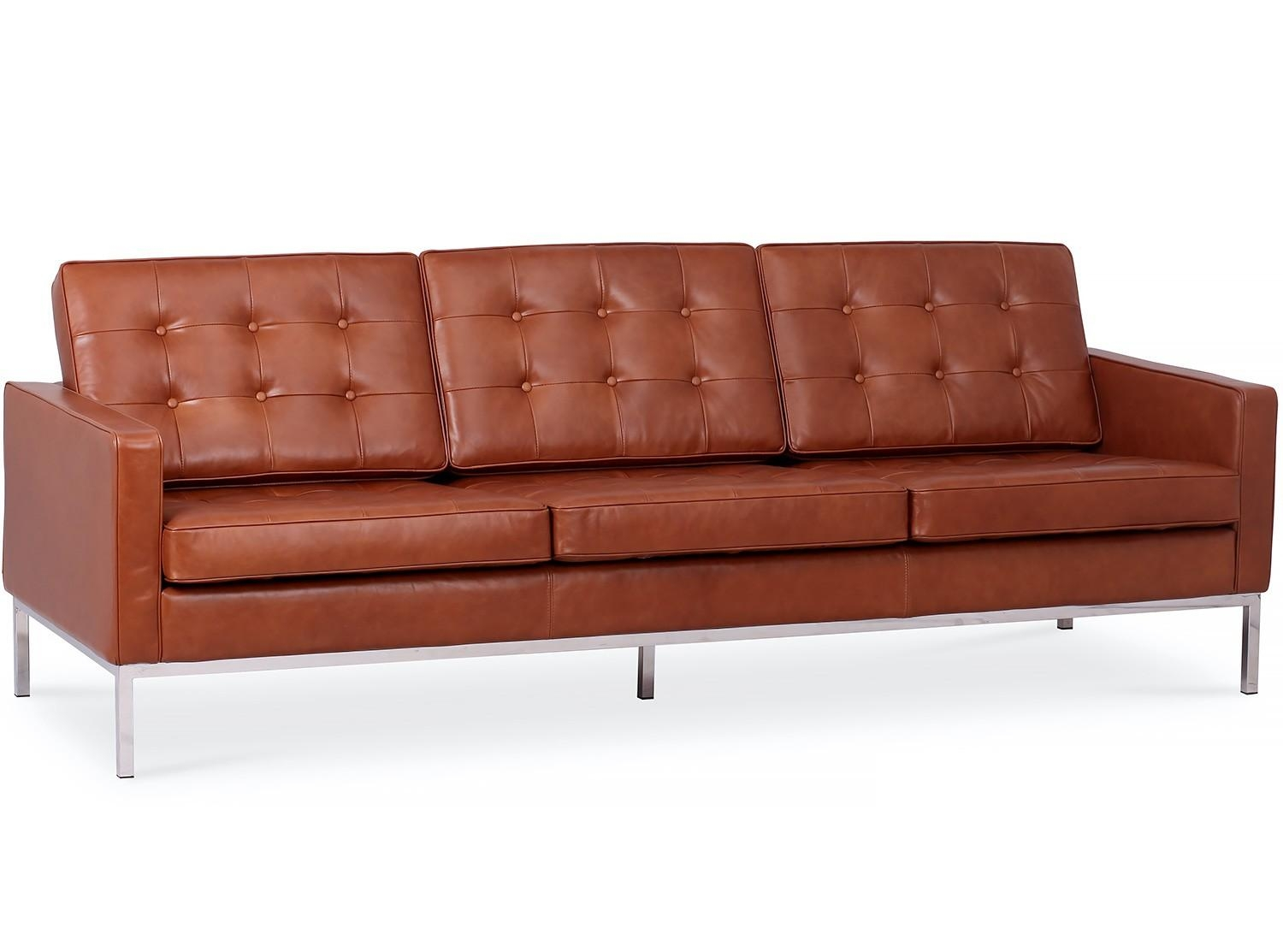 Florence Knoll Sofa 3 Seater Leather (Platinum Replica) Within Florence  Knoll 3 Seater Sofas