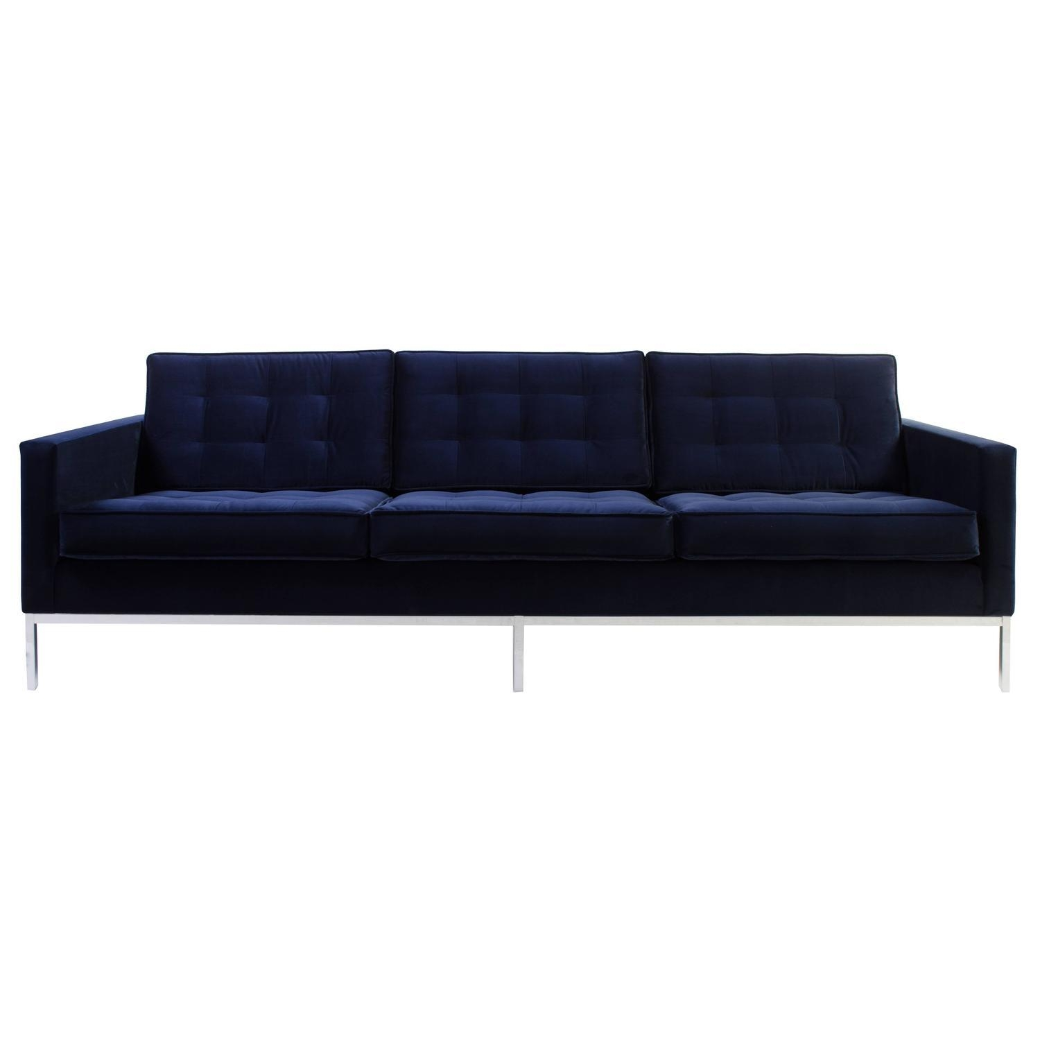 Florence Knoll Sofa In Navy Velvet For Sale At 1Stdibs Regarding Florence Knoll Sofas (View 8 of 20)
