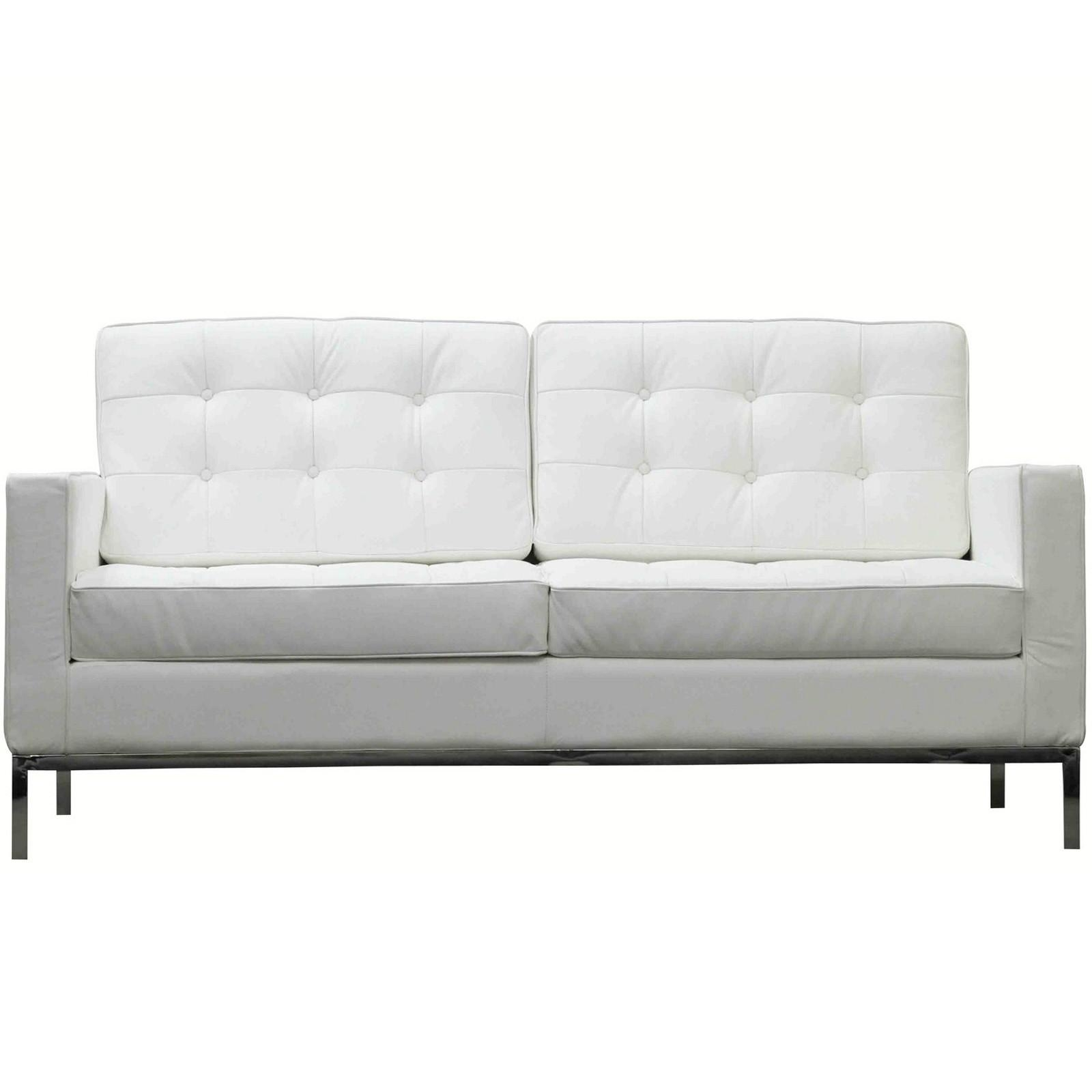 Florence Knoll Style Loveseat In Leather (Multiple Colors Intended For Florence Sofas And Loveseats (View 10 of 20)