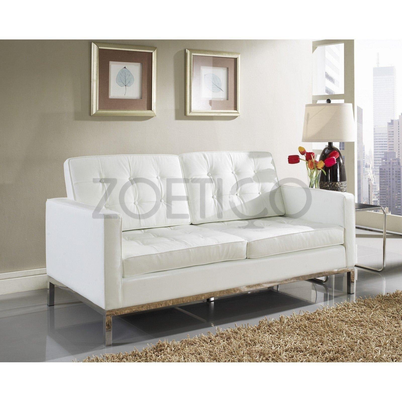 Florence Knoll Style Loveseat In Leather (Multiple Colors Regarding Florence Sofas And Loveseats (View 13 of 20)