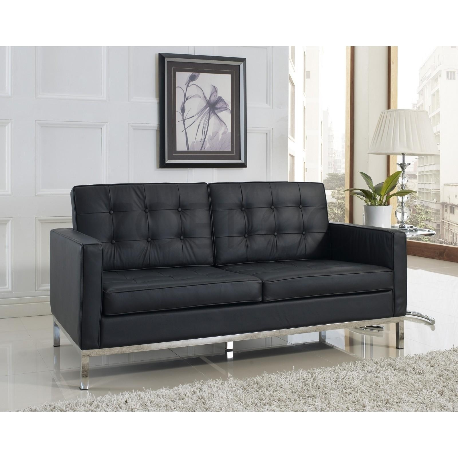Florence Knoll Style Loveseat In Leather (Multiple Colors Within Florence Knoll Style Sofas (View 4 of 20)