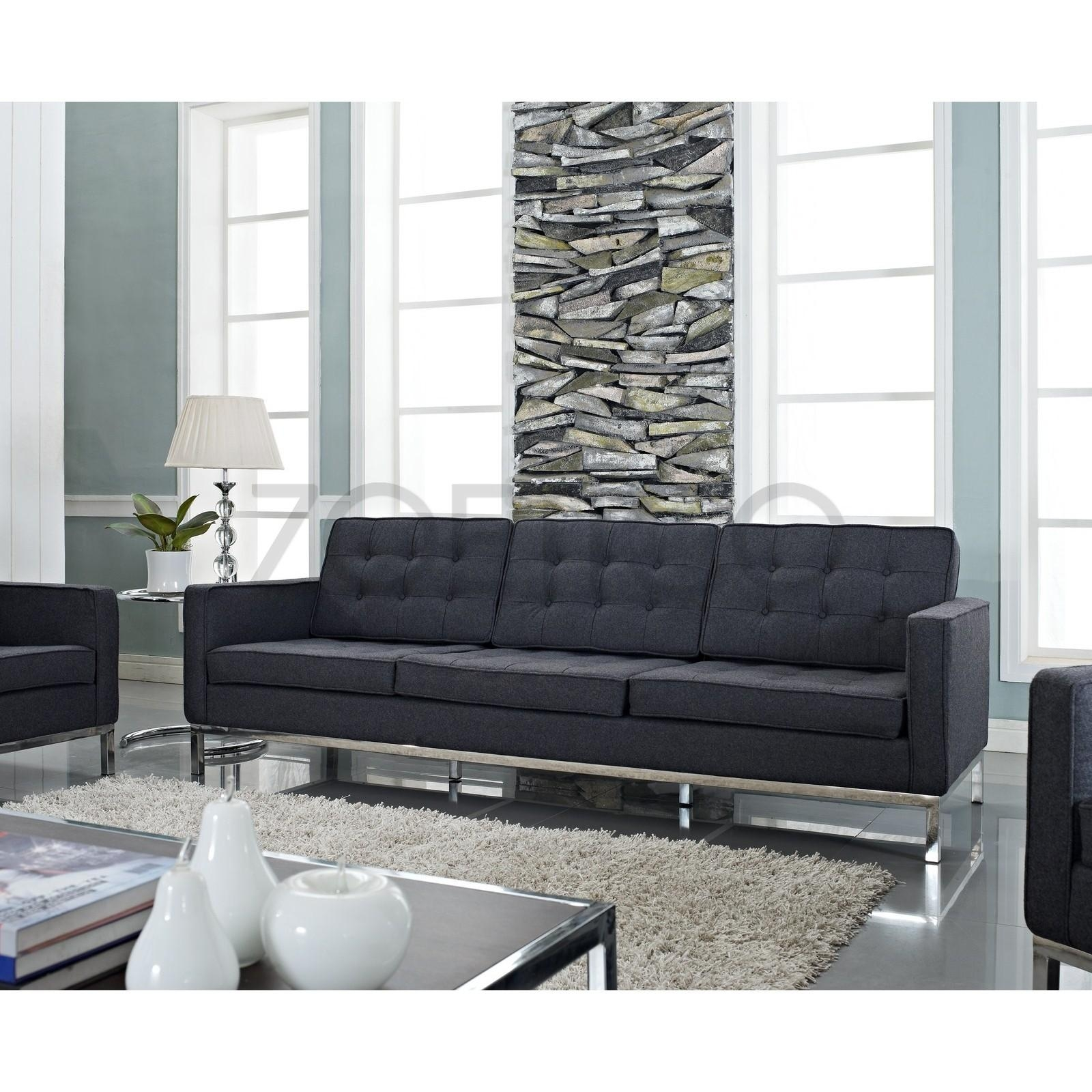 Florence Knoll Style Sofa In Fabric – (Multiple Colors/materials Inside Florence Sofas (Image 12 of 20)