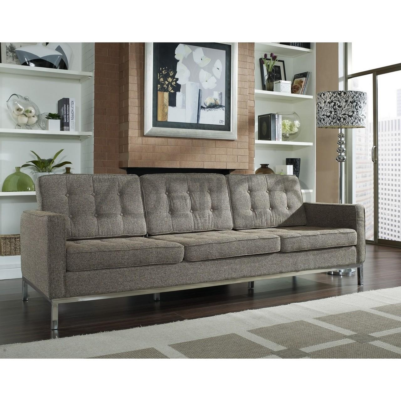 Florence Knoll Style Sofa In Fabric – (Multiple Colors/materials Inside Knoll Sofas (Image 13 of 20)