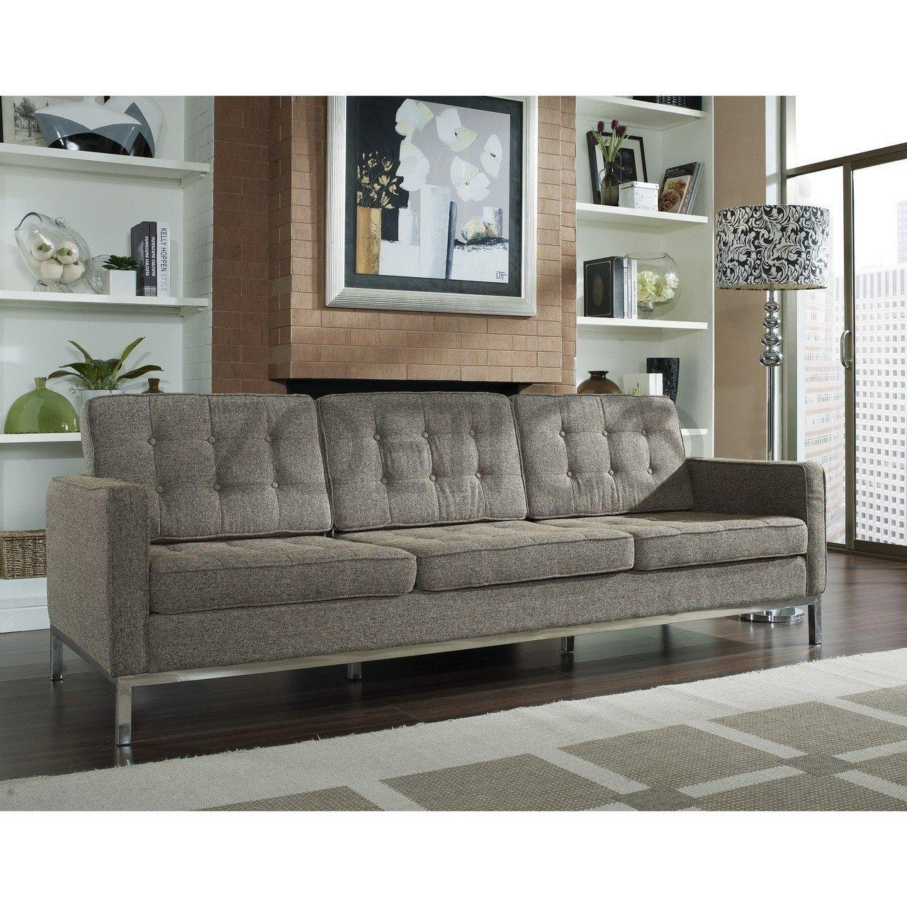 Florence Knoll Style Sofa In Fabric – (Multiple Colors/materials With Regard To Florence Grand Sofas (Image 12 of 20)