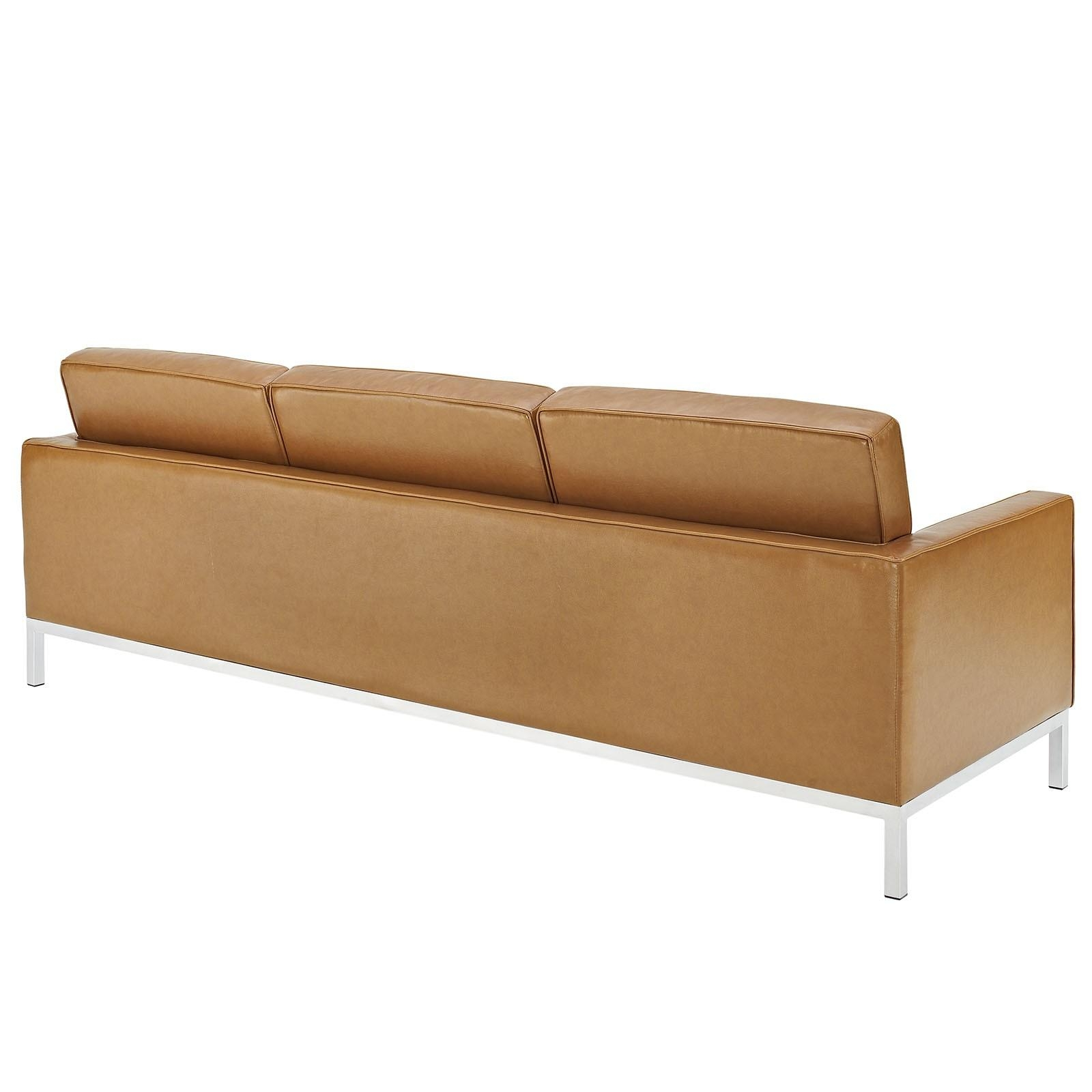 Florence Knoll Style Sofa In Leather (Multiple Colors/materials For Florence Leather Sofas (Image 9 of 20)