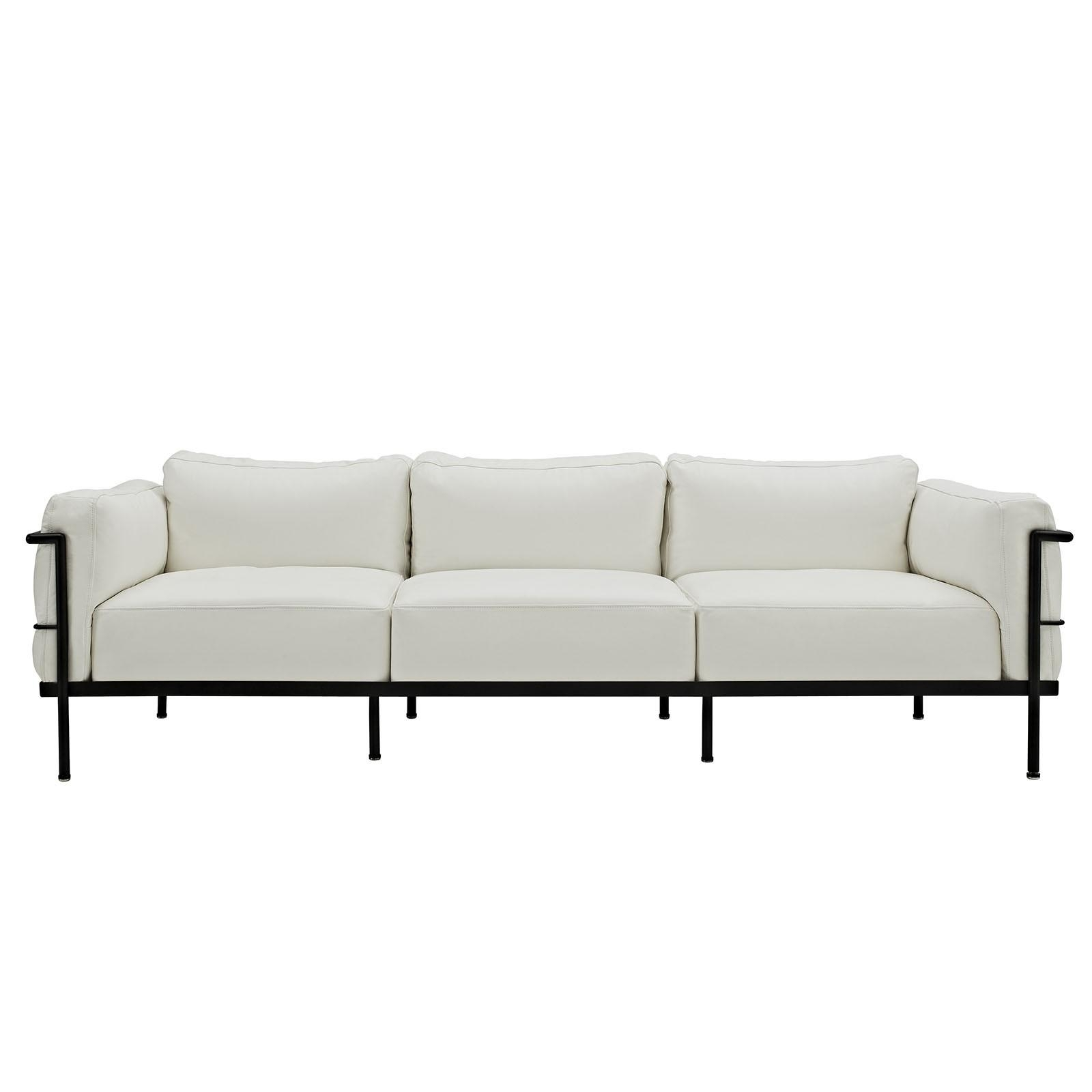 Florence Knoll Style Sofa In Leather (Multiple Colors/materials In Florence Grand Sofas (Image 14 of 20)