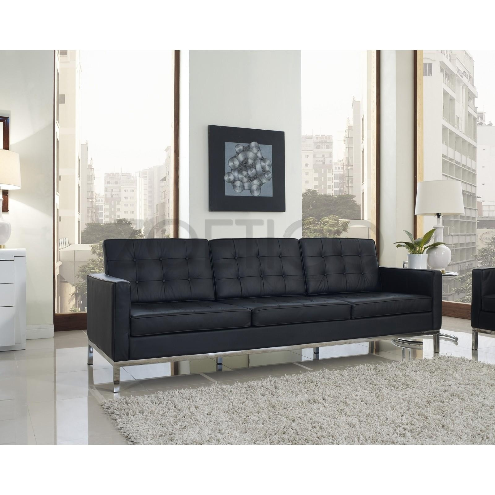 Florence Knoll Style Sofa In Leather (Multiple Colors/materials Intended For Florence Knoll Style Sofas (View 3 of 20)