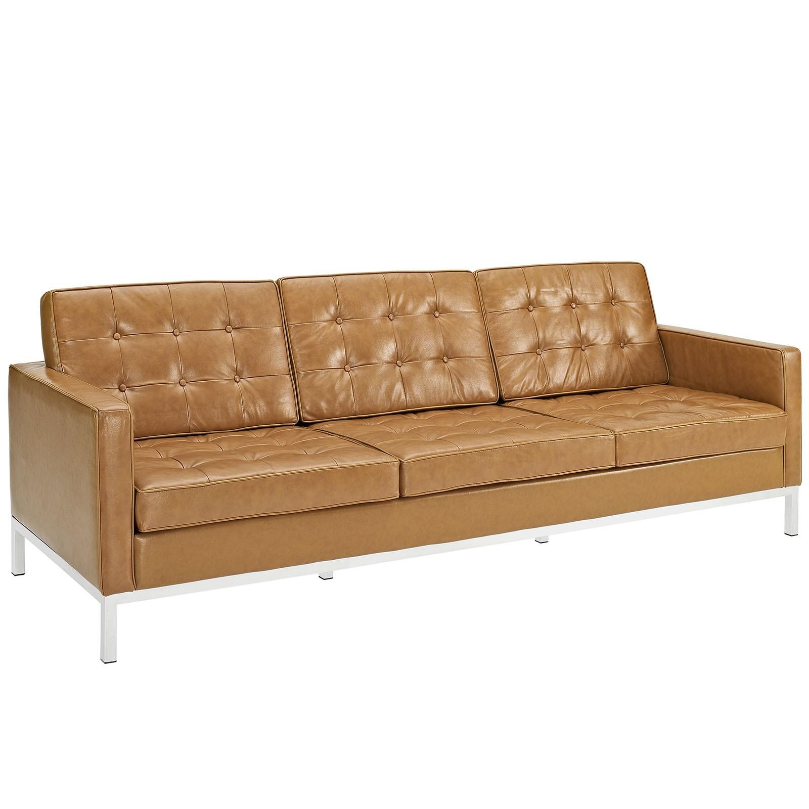 Florence Knoll Style Sofa In Leather (Multiple Colors/materials Regarding Florence Leather Sofas (Image 11 of 20)