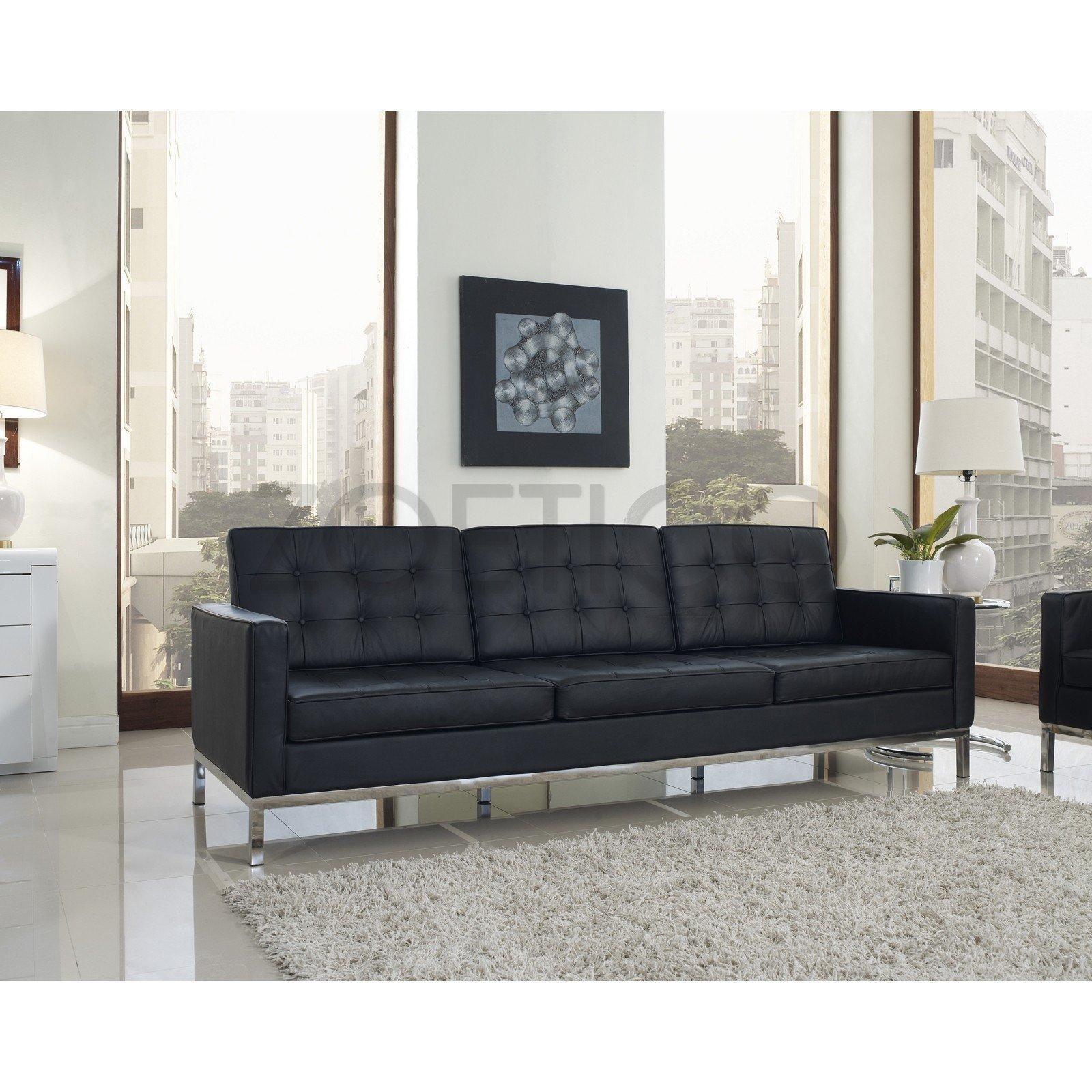 Florence Knoll Style Sofa In Leather (Multiple Colors/materials With Knoll Sofas (Image 15 of 20)
