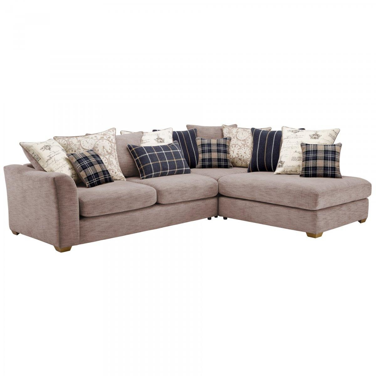 Florence Left Hand Corner Sofa With Pillow Back In Silver With Florence Sofa Beds (Image 6 of 20)