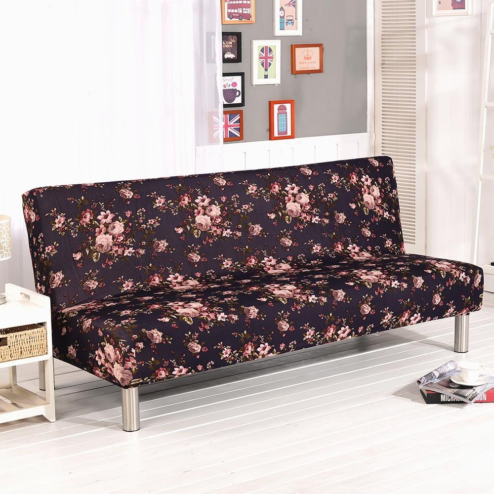 Folding Armless Sofa Futon Cover Furniture Seater Protector Couch Throughout Armless Couch Slipcovers (Image 2 of 20)