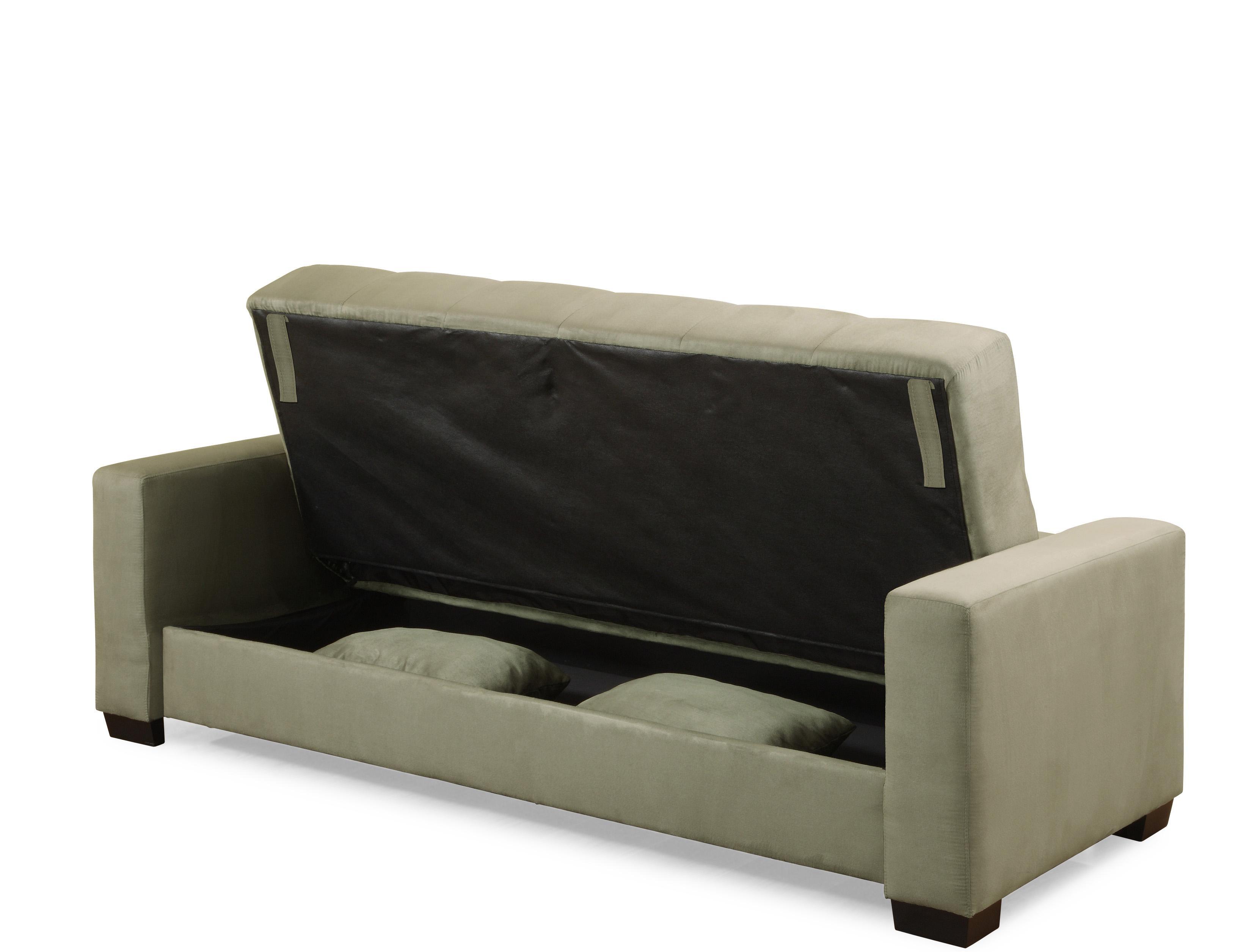 Folding Grey Fabric Sofa Bed With Storage Having Rectangular Arm Inside Short Sofas (Image 6 of 20)