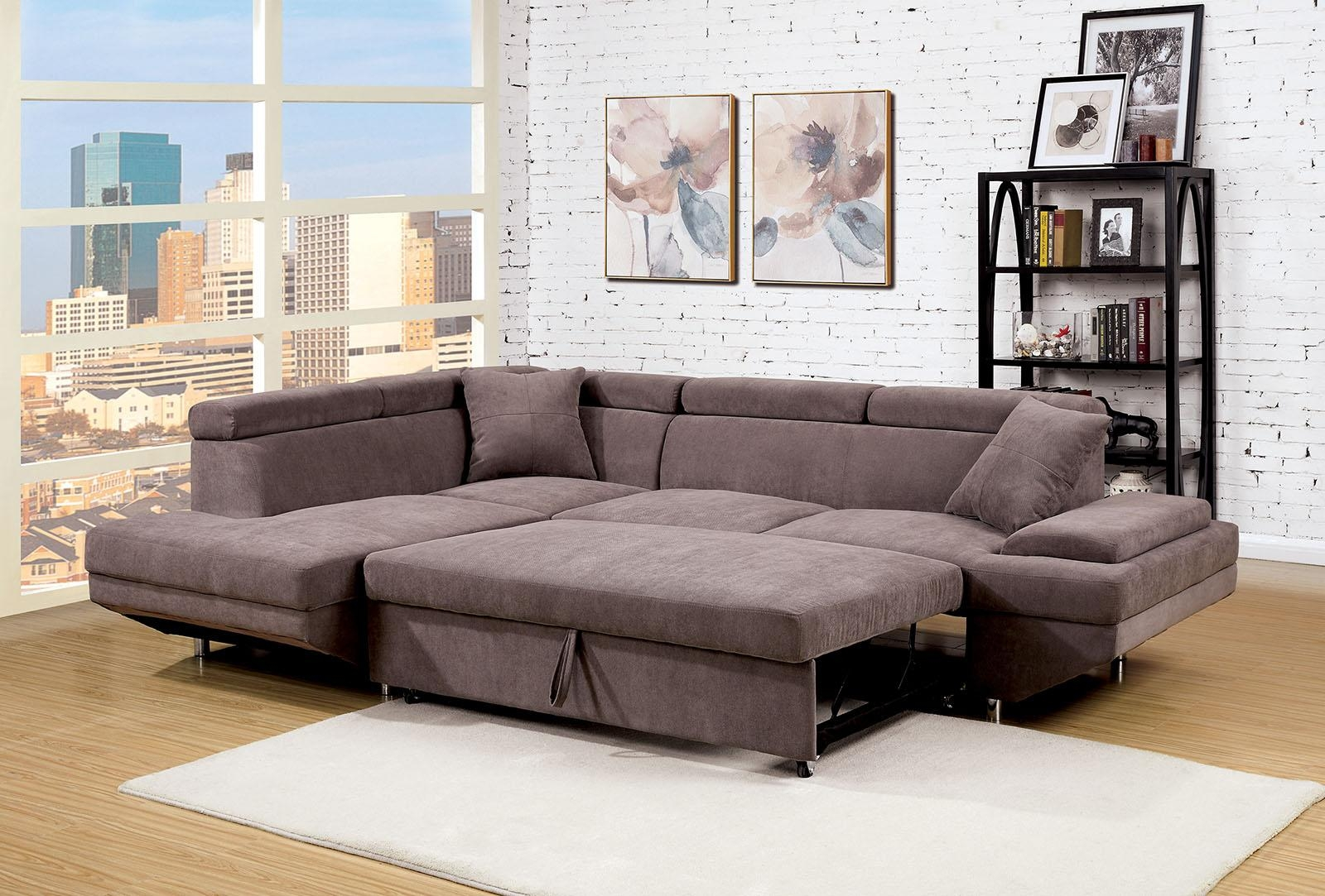 Foreman Contemporary Style Brown Flannelette Fabric Pull Out Inside Pull Out Sectional (View 8 of 20)