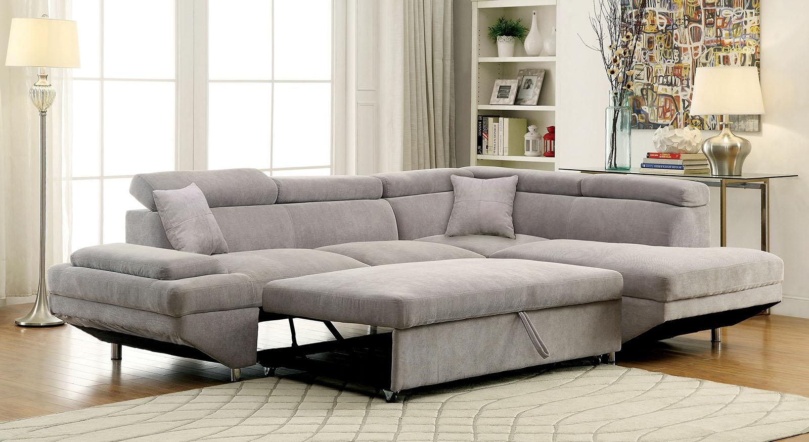 Foreman Contemporary Style Gray Flannelette Fabric Pull Out In Pull Out Sectional (View 18 of 20)