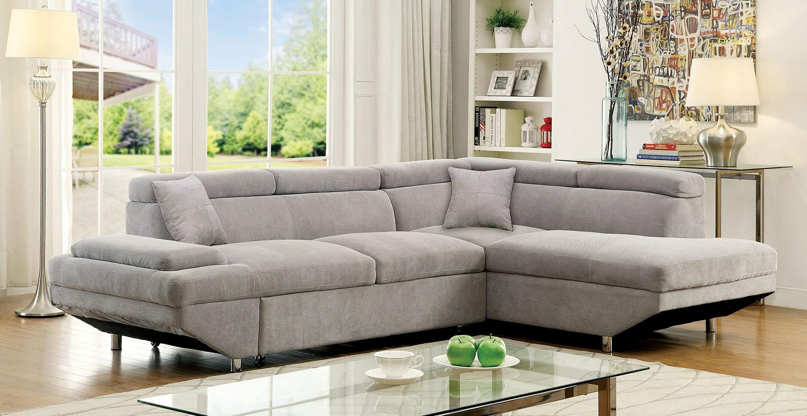 Foreman Contemporary Style Gray Flannelette Fabric Pull Out With Pull Out Sectional (View 9 of 20)