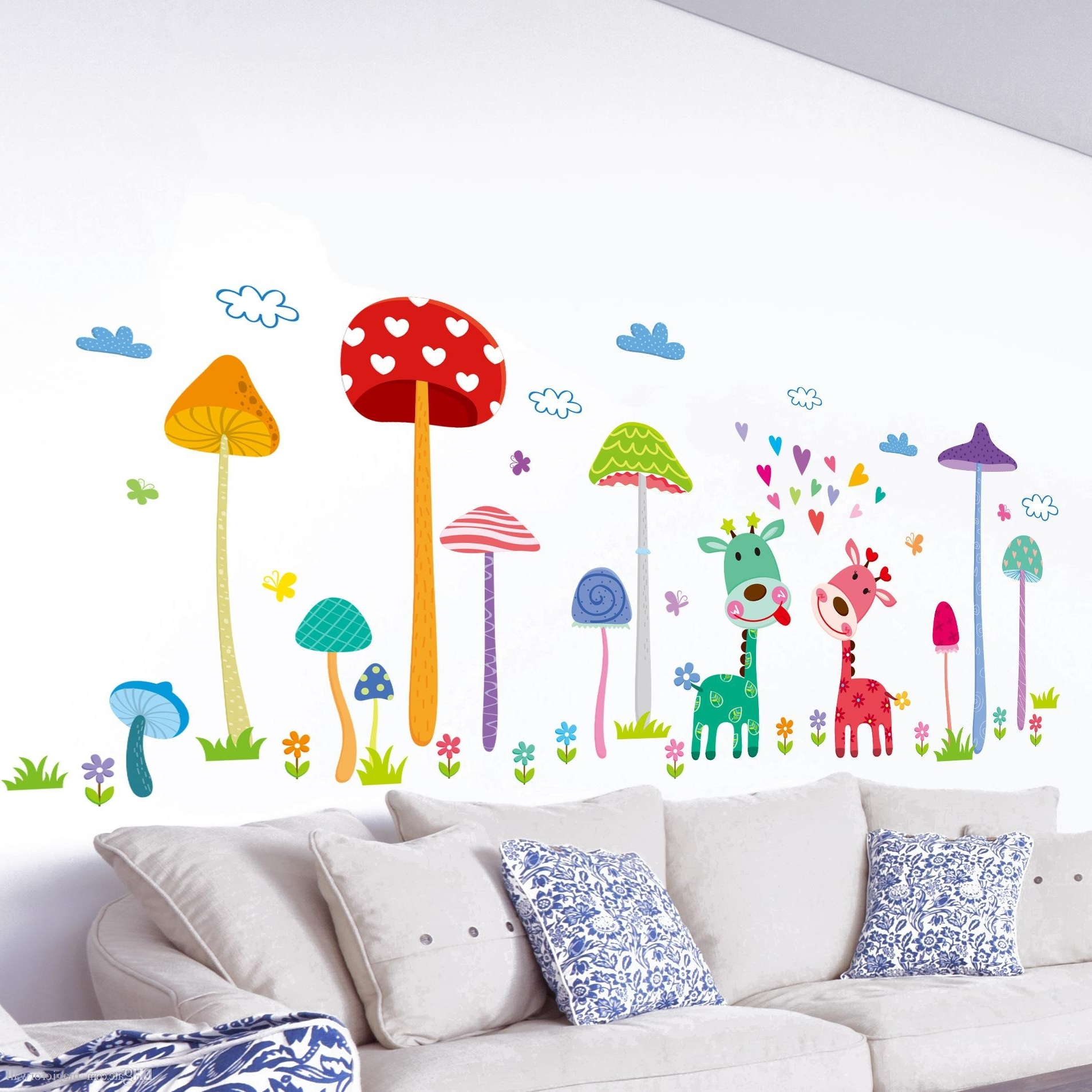 Forest Mushroom Deer Animals Home Wall Art Mural Decor Kids Babies Intended For Creative Kids Wall Art Ideas (Image 8 of 13)