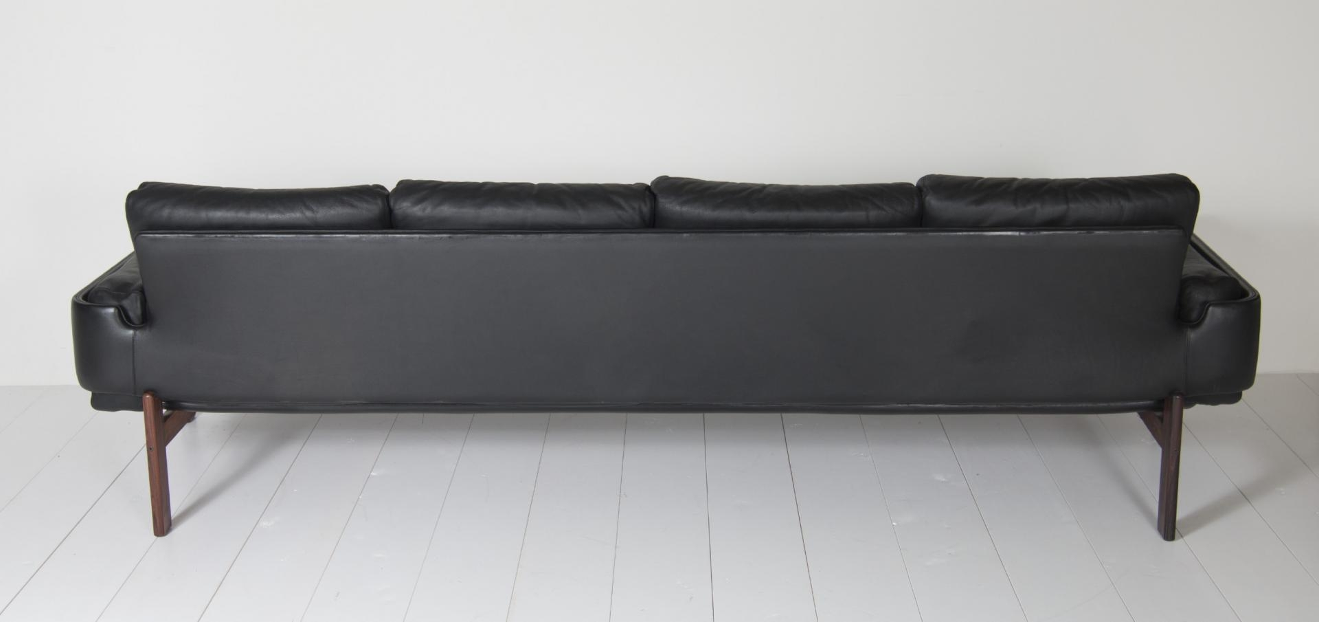 Four Seater Black Leather Sofasven Ivar Dysthe For Dokka For For 4 Seat Leather Sofas (Image 3 of 20)