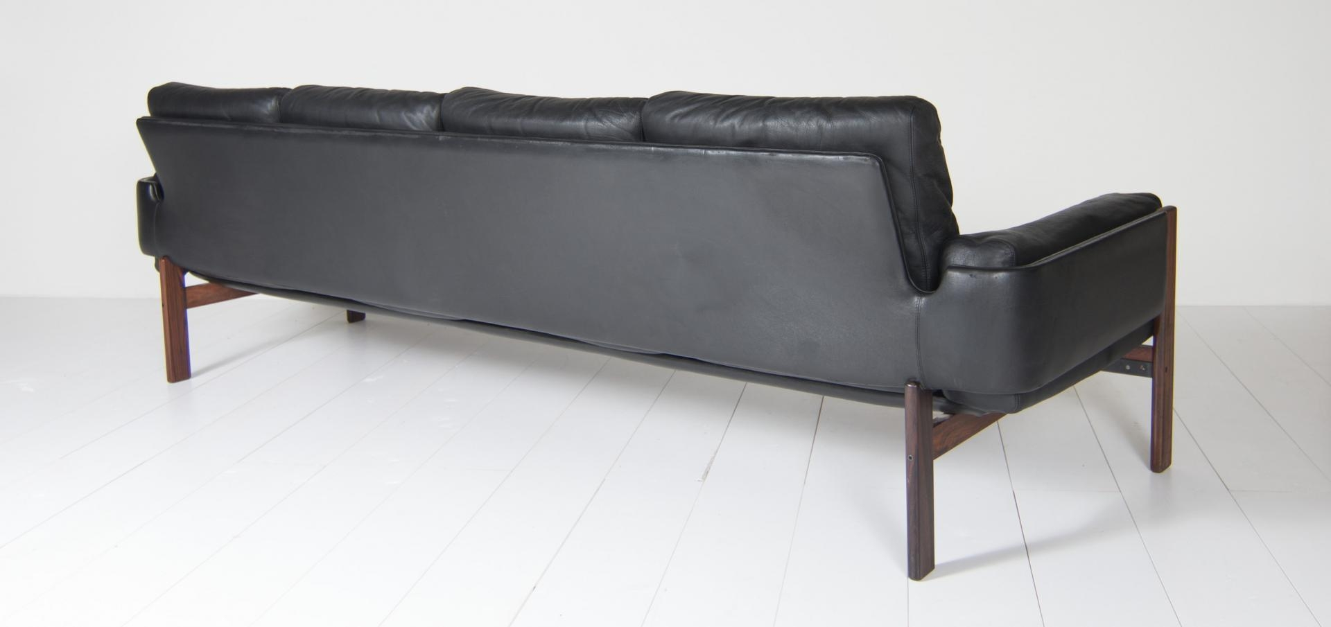 Four Seater Black Leather Sofasven Ivar Dysthe For Dokka For Pertaining To 4 Seat Leather Sofas (Image 5 of 20)
