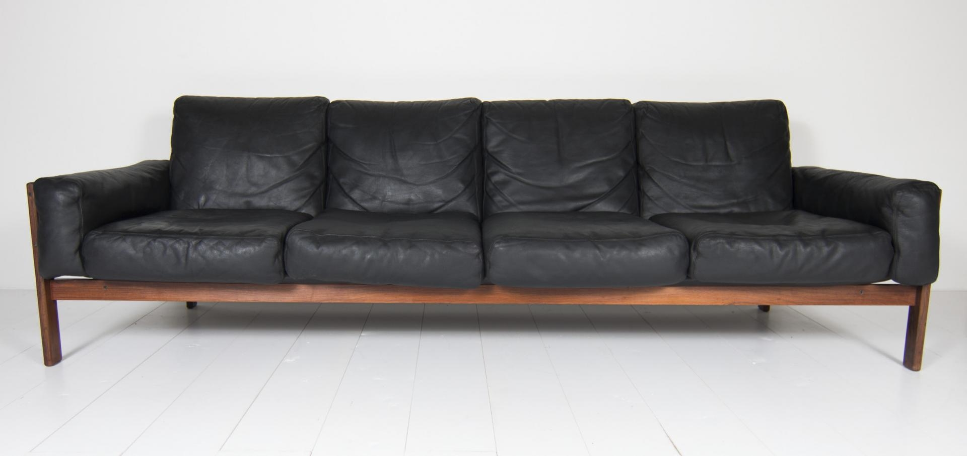 Four Seater Black Leather Sofasven Ivar Dysthe For Dokka For Pertaining To 4 Seat Leather Sofas (Image 4 of 20)